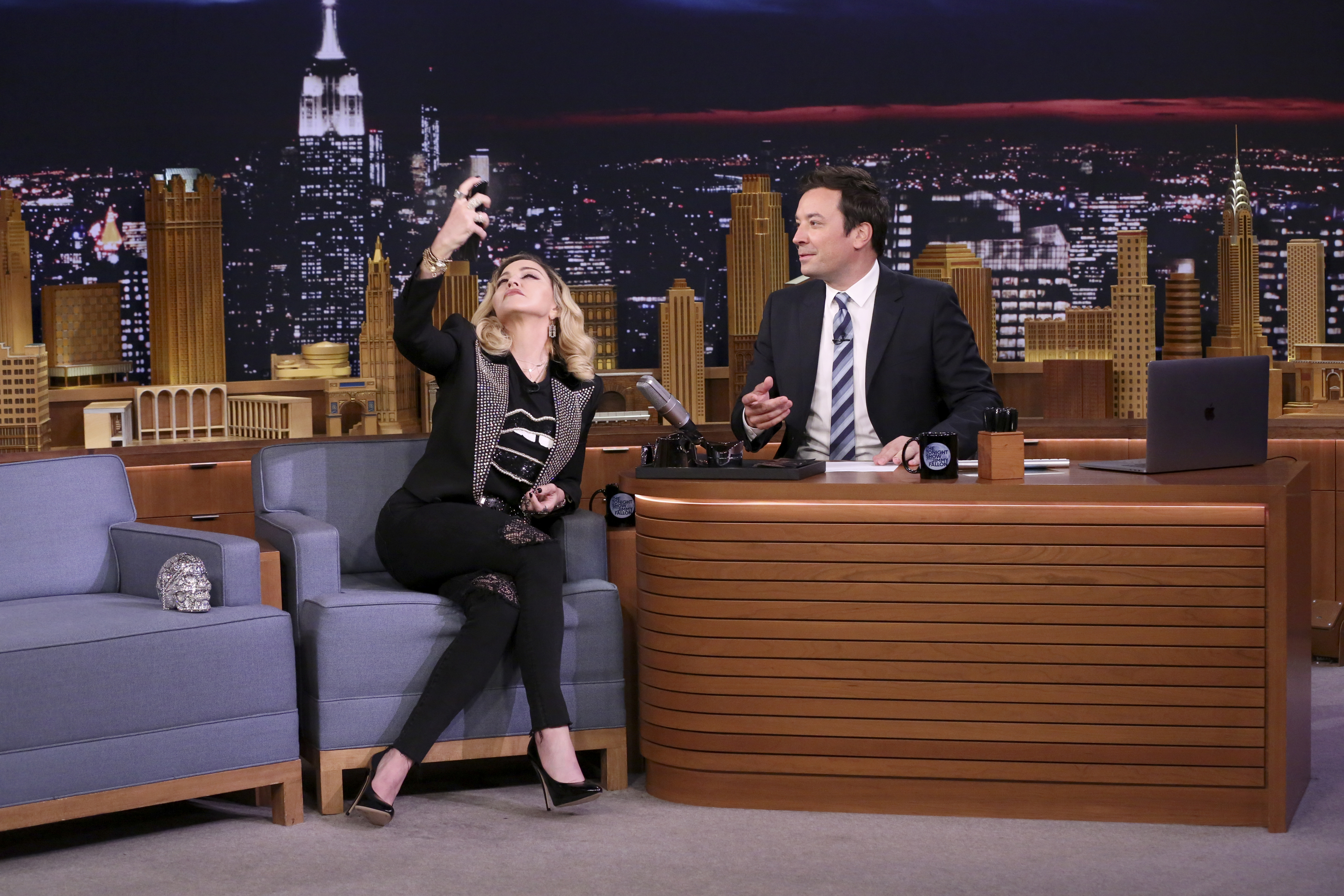 Madonna appears during an interview with Jimmy Fallon on Sept 25, 2017.