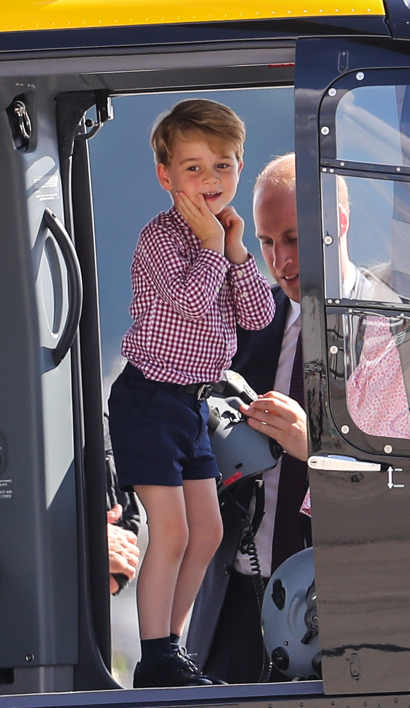 Prince George and Prince William depart from the Airbus plant in Hamburg after their tour of Poland and Germany on July 21, 2017.