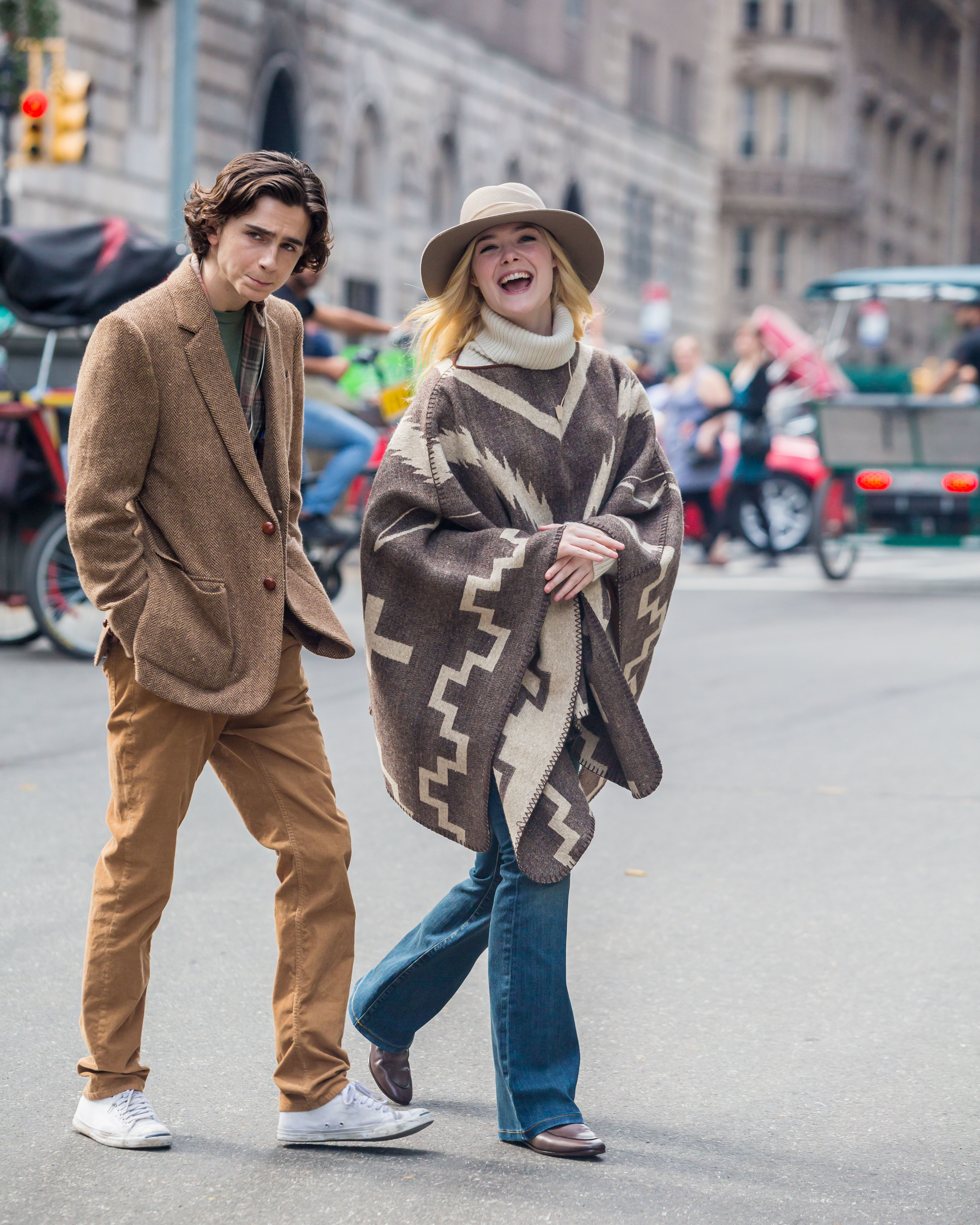Elle Fanning Timothee Chalamet Filming Celebs Out And