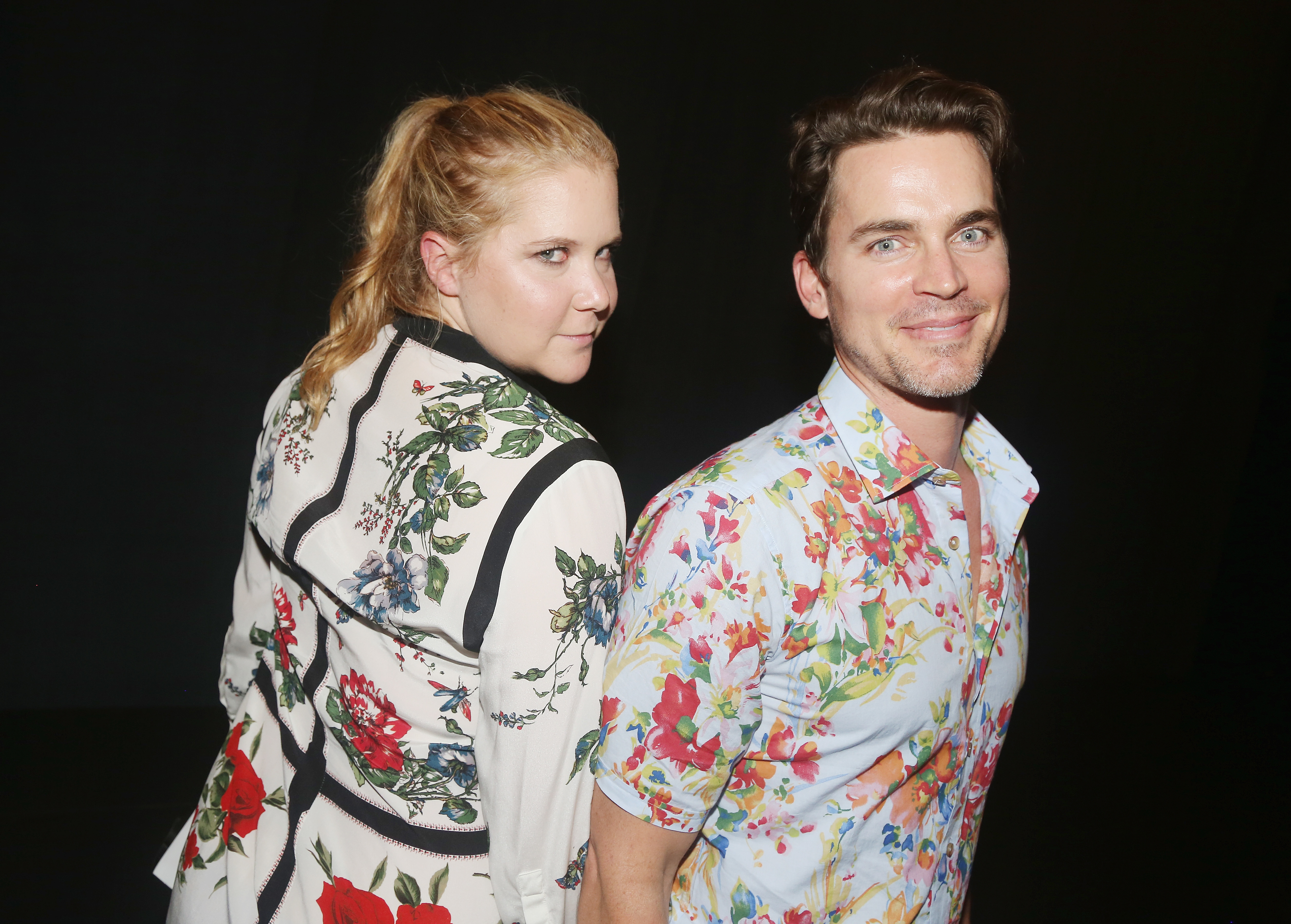 """Amy Schumer and Matt Bomer pose backstage at the hit musical """"Dear Evan Hansen"""" in New York City on July 22, 2017."""