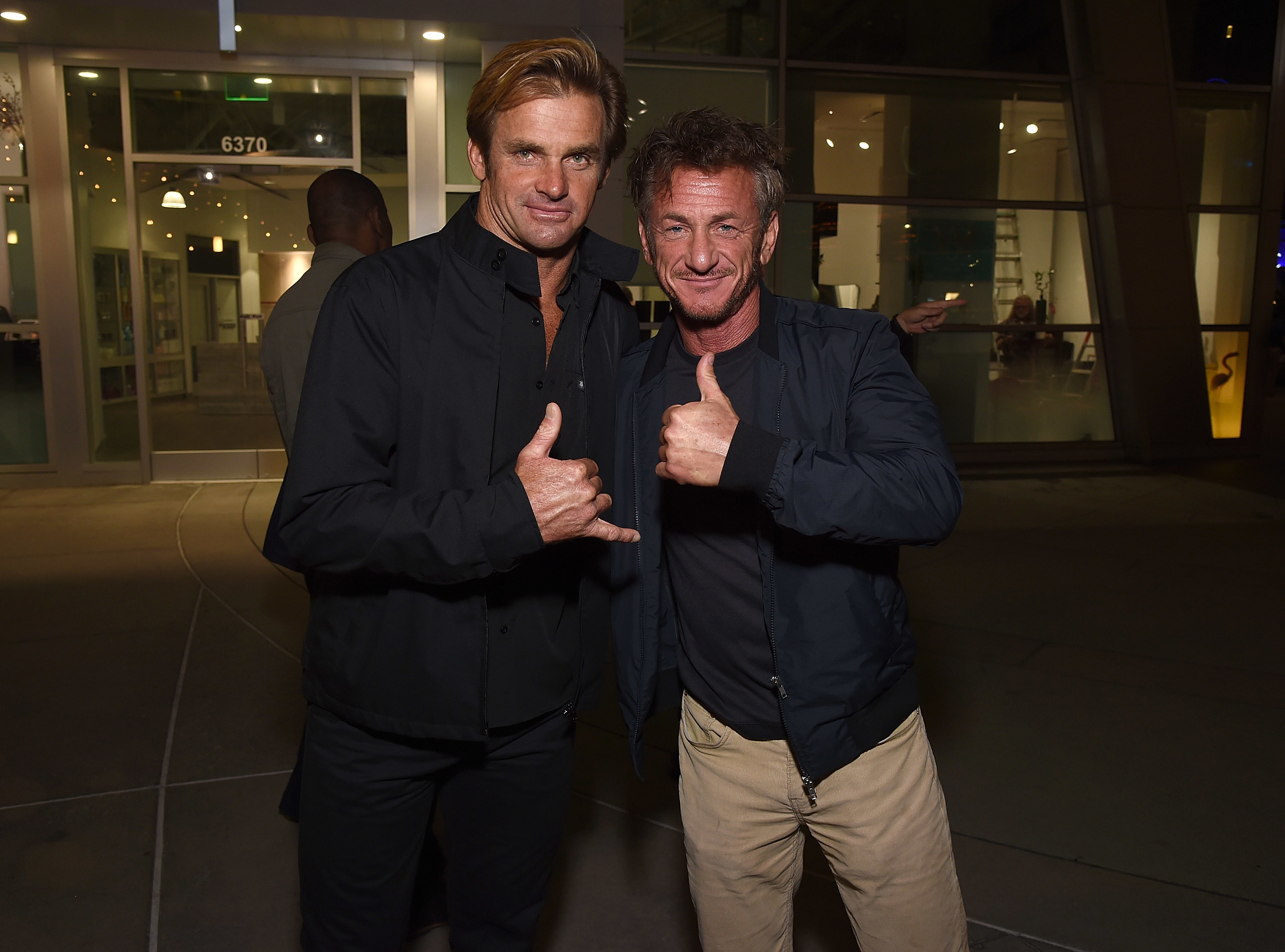 Laird Hamilton and Sean Penn attend the premiere of 'Take Every Wave' at ArcLight Cinemas in Los Angeles on Sept. 27, 2017.