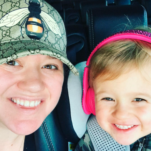 """Me and #RiverRose #NoMakeupMonday .....wait, that's every day y'all 🤣 ....but you know I filtered the $&@! out of it 🙌👏😎""    Kelly Clarkson, who posted this snap on Sept. 4, 2017."