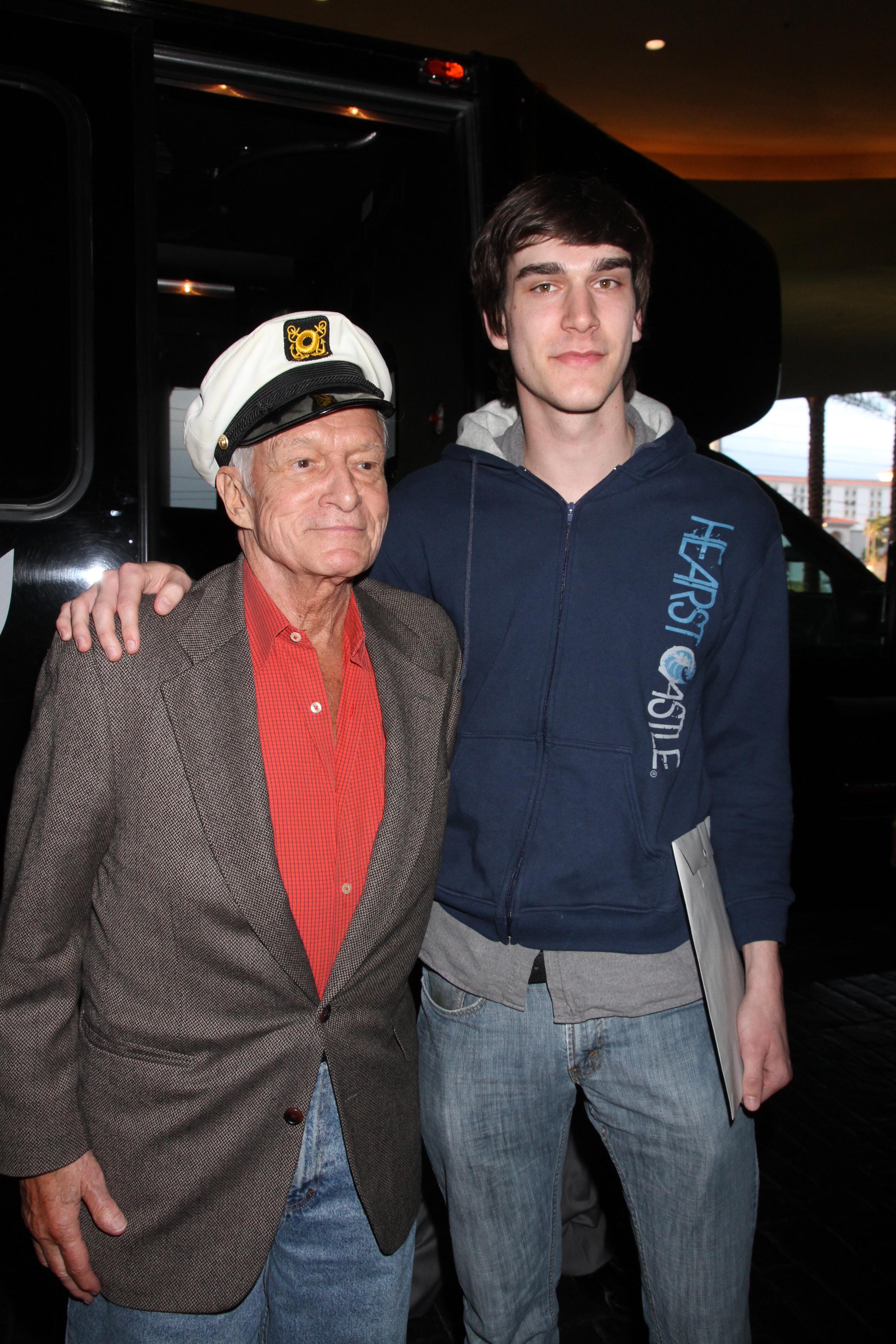 Hugh Hefner and son Marston Hefner celebrate their birthdays at The Palms Casino Resort in Las Vegas on April 9, 2011.