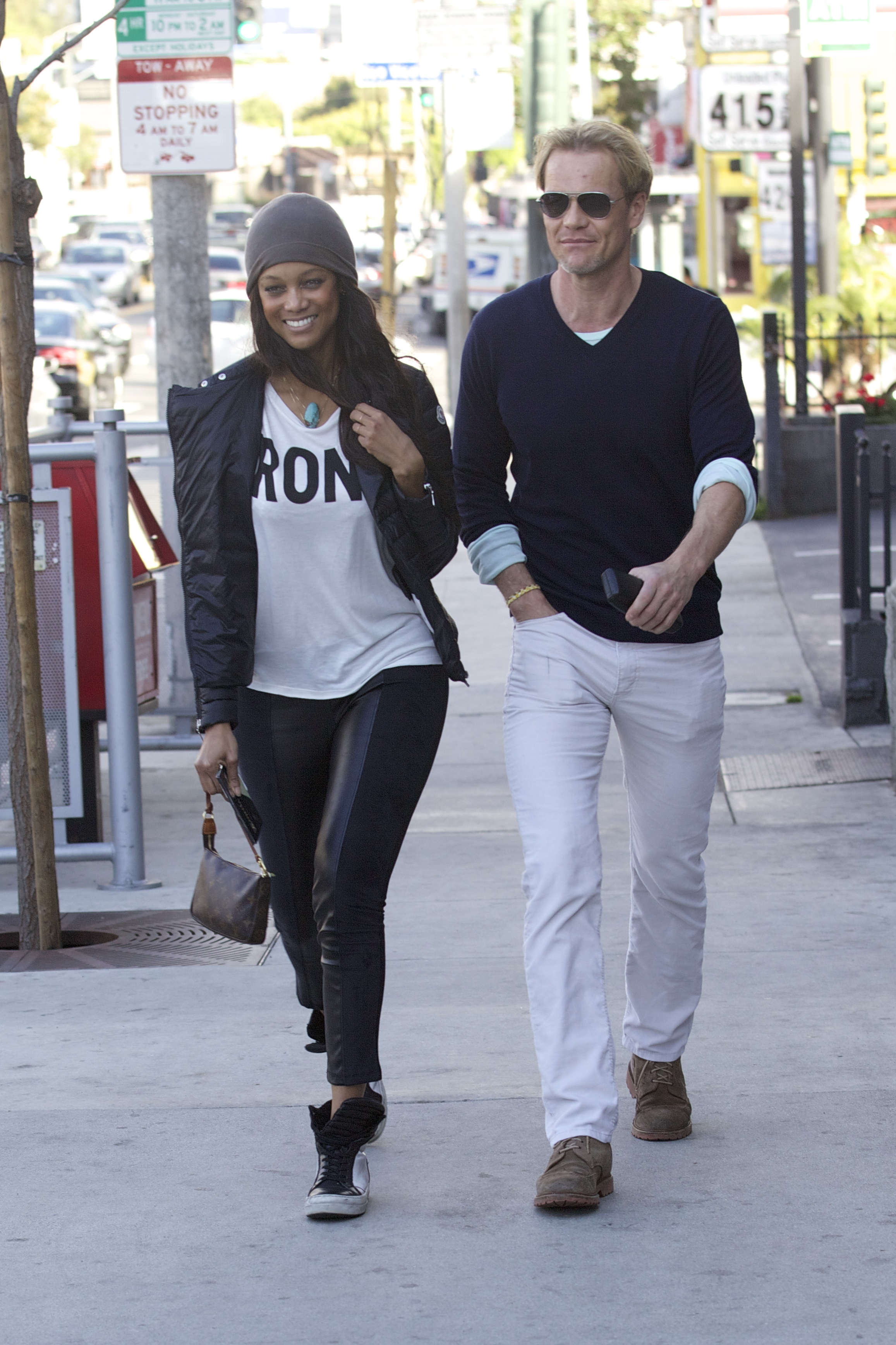 Tyra Banks and Erik Asla go out to lunch at Pearl's restaurant in West Hollywood on Feb. 7, 2014.