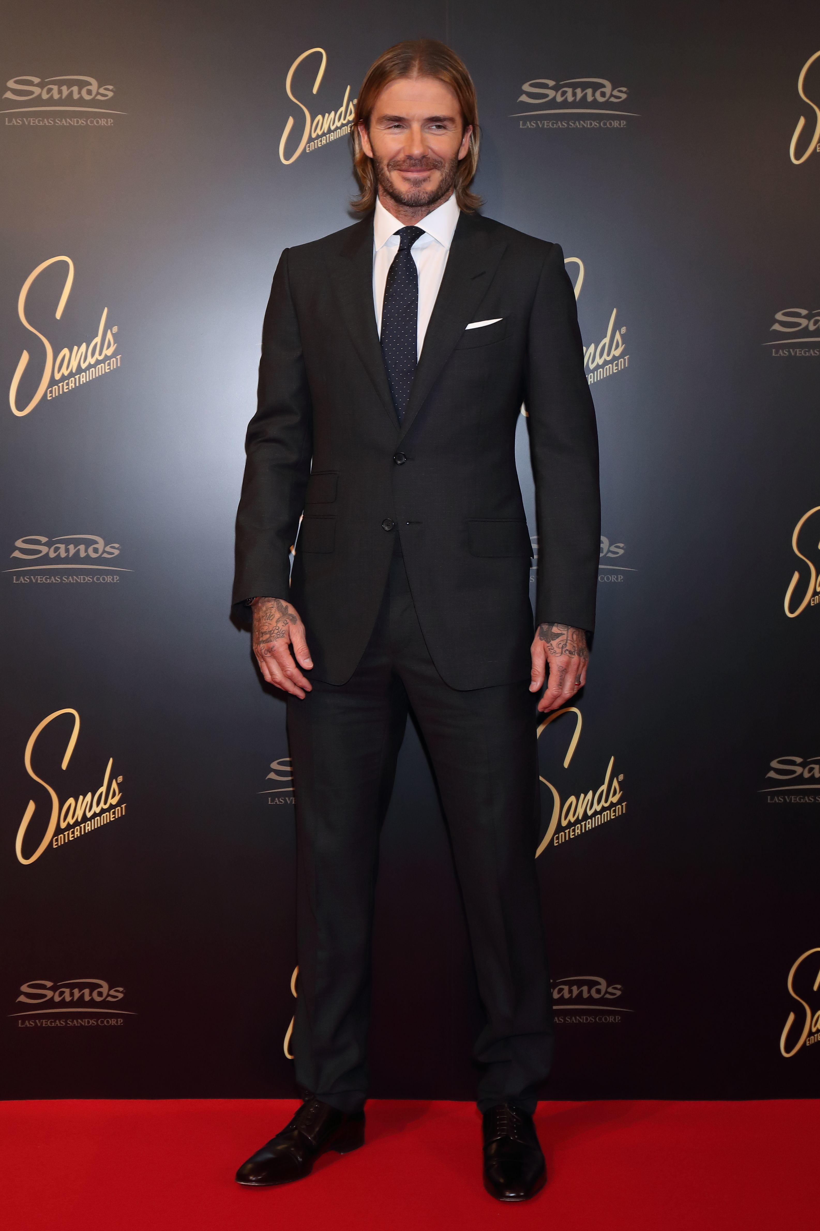 David Beckham attends a photo call for the Las Vegas Sands Corporation in Tokyo on Oct. 4, 2017.