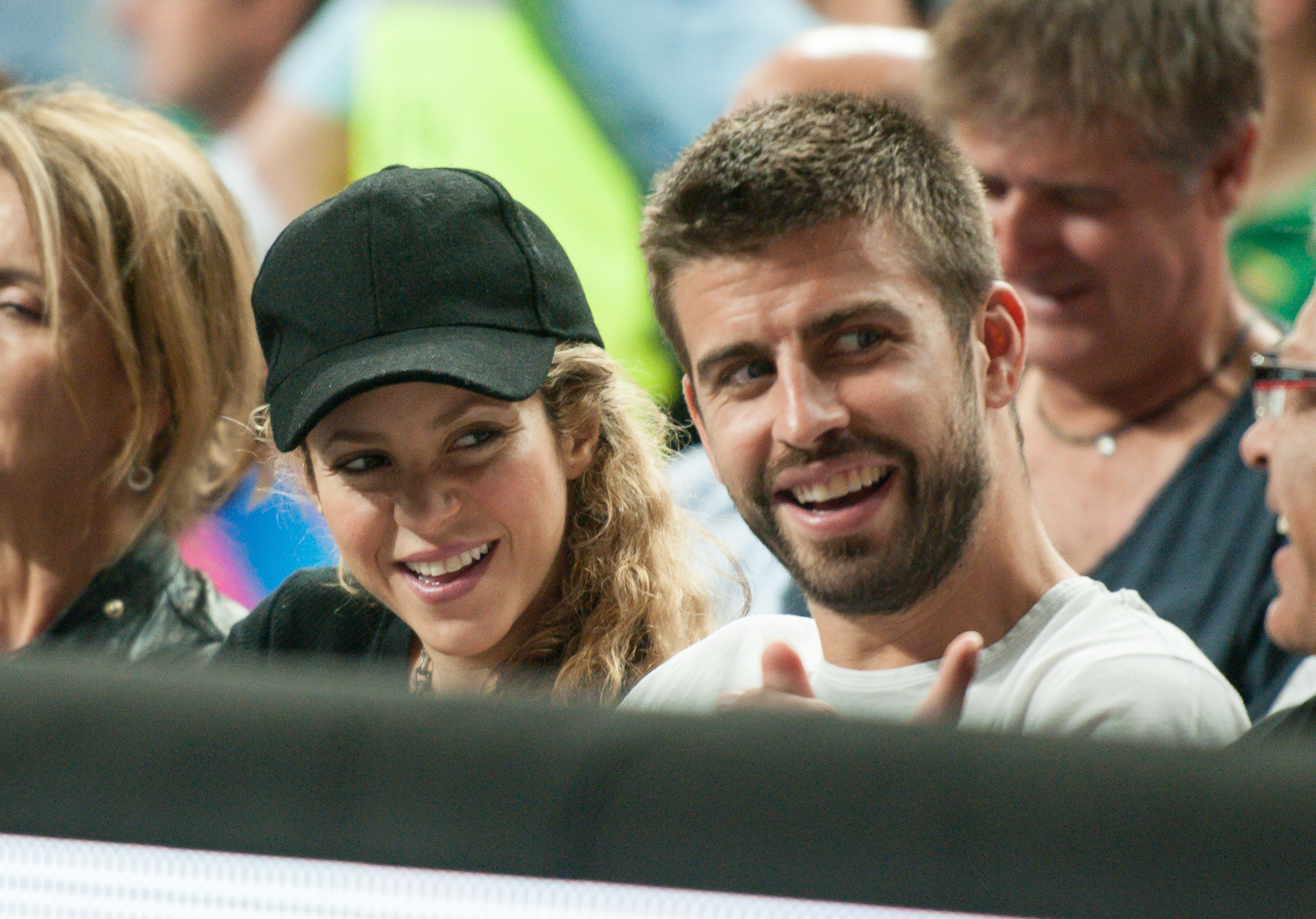 Shakira and Gerard Pique attend the USA v Slovenia game at the Basketball World Cup 2014 in Barcelona on Sept. 9, 2014.