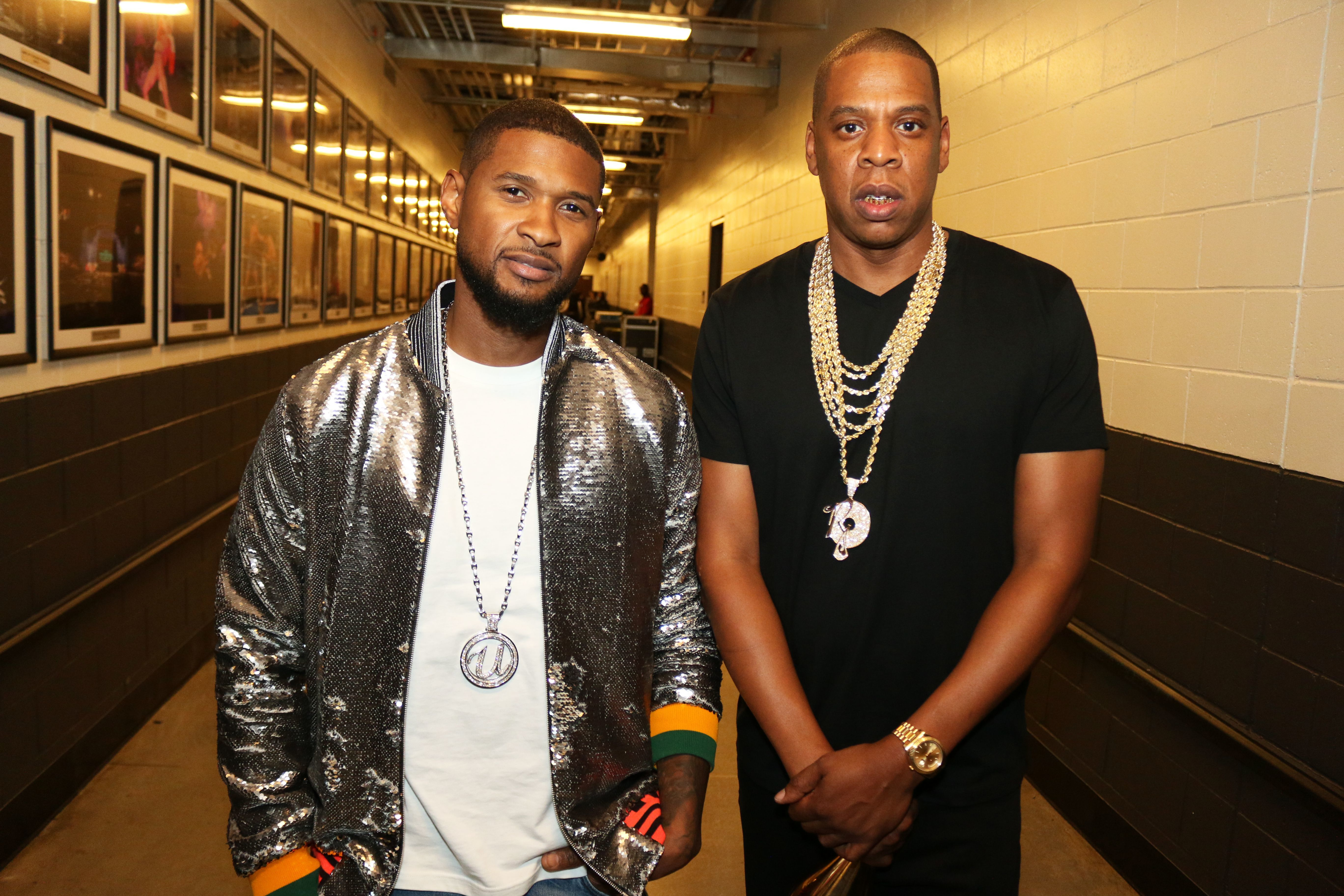 Usher and JAY Z attend the Bad Boy Reunion concert in New York on May 20, 2016.