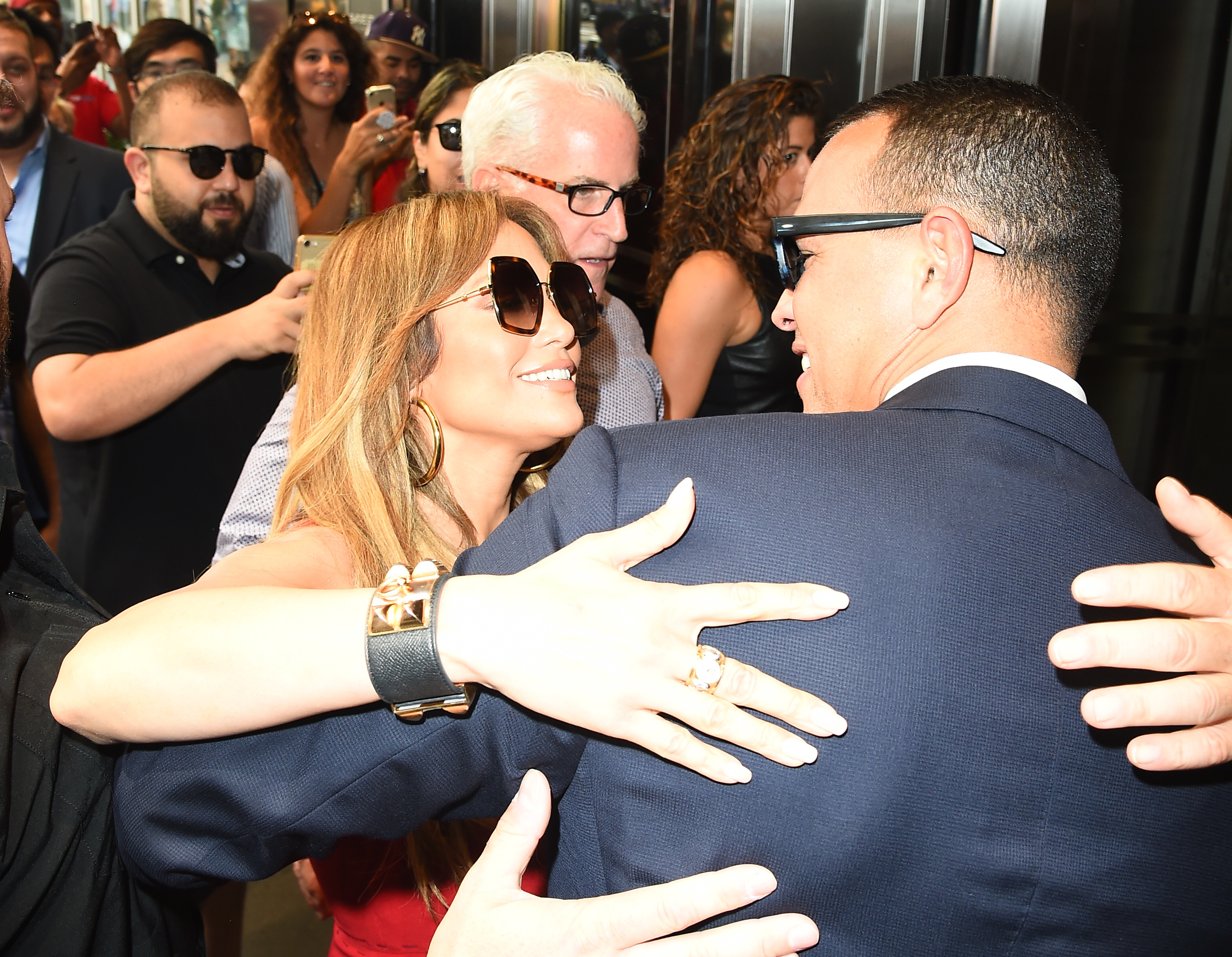 Jennifer Lopez was spotted getting close with Alex Rodriguez on 34th Street in New York City on Sept. 29, 2017.