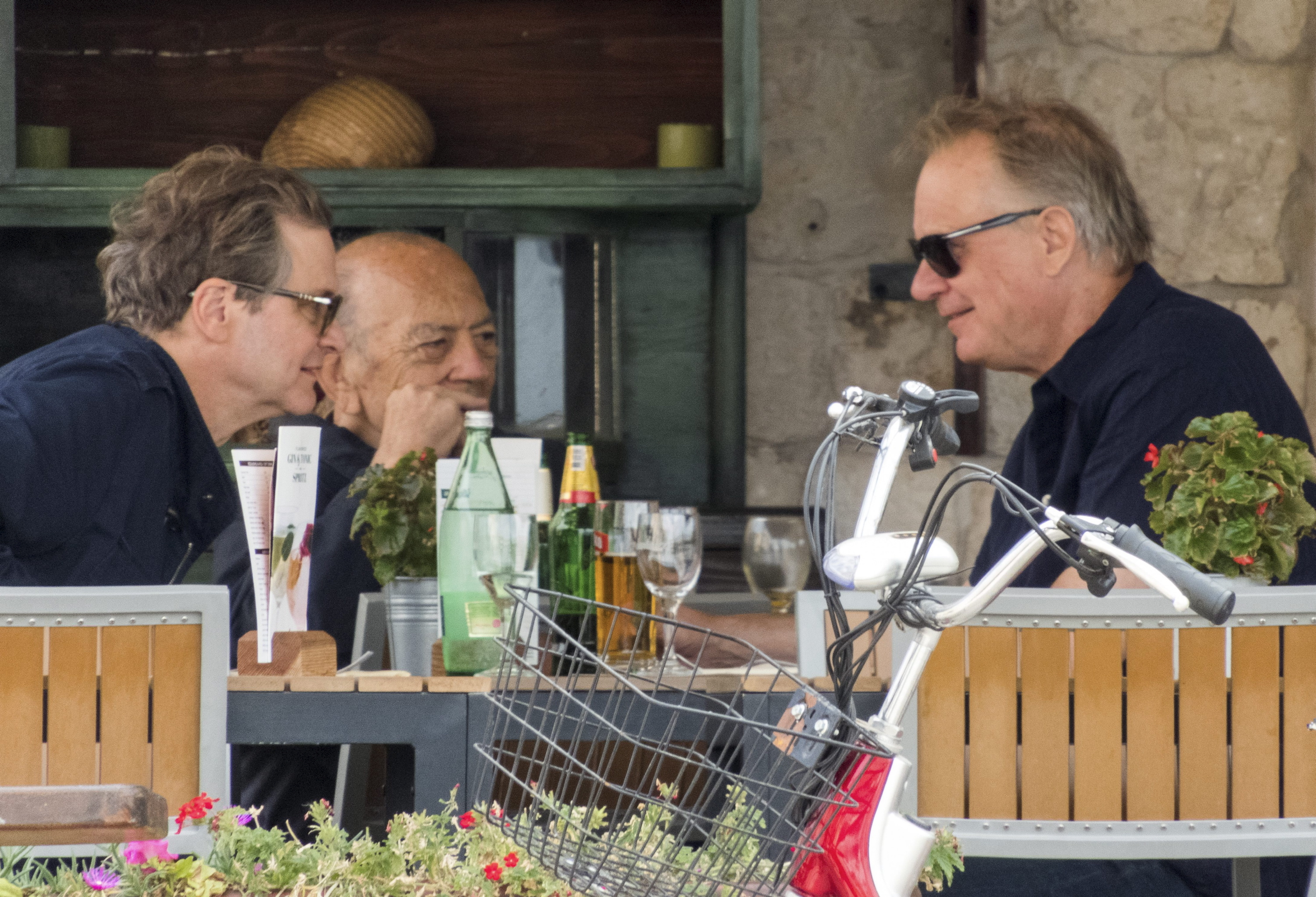 Stellan Skarsgard and Colin Firth were seen chatting over lunch while in Vis, Croatia on Oct. 5, 2017.