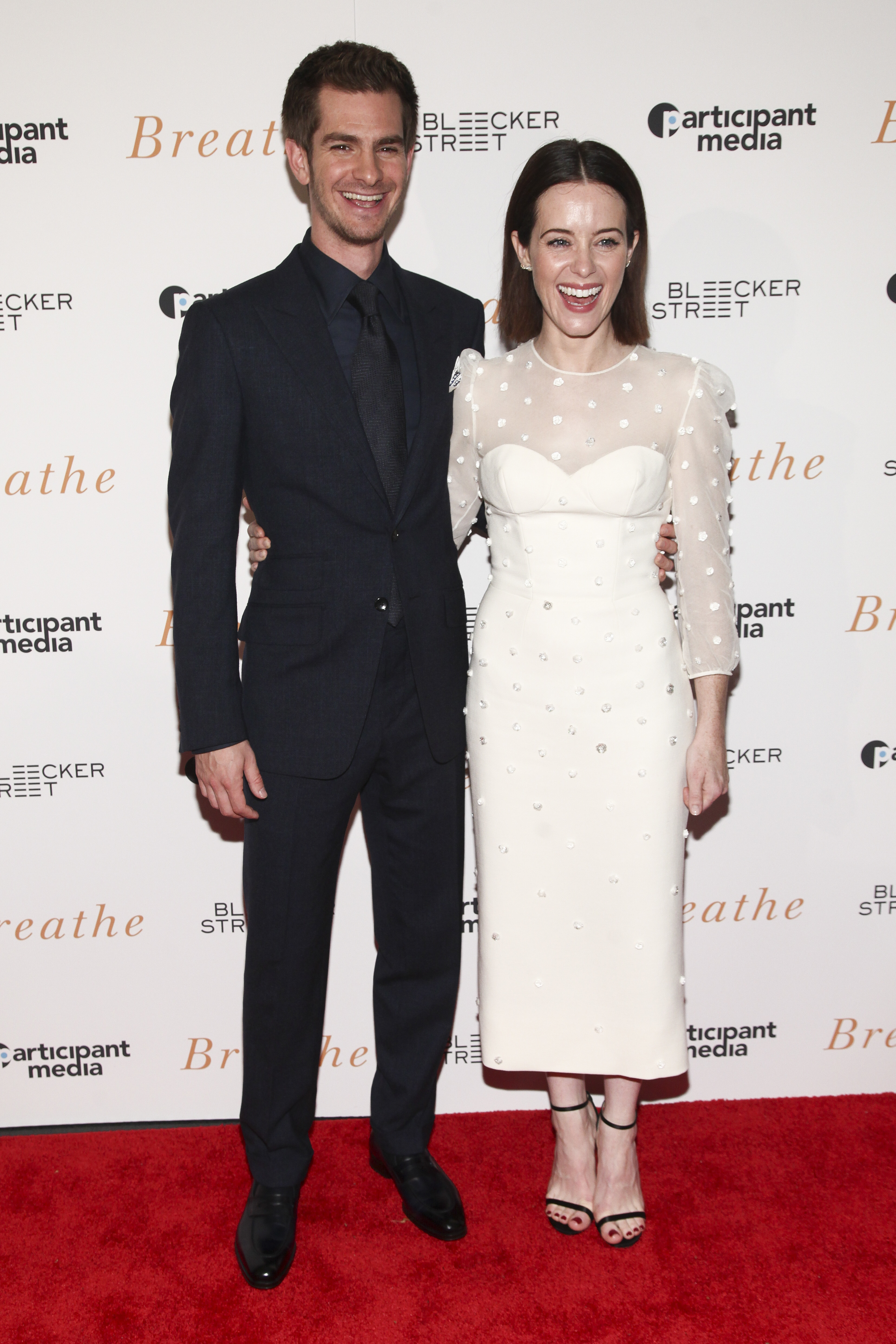 "Andrew Garfield and Claire Foy attend a special screening of ""Breathe"" in New York City on Oct. 9, 2017."