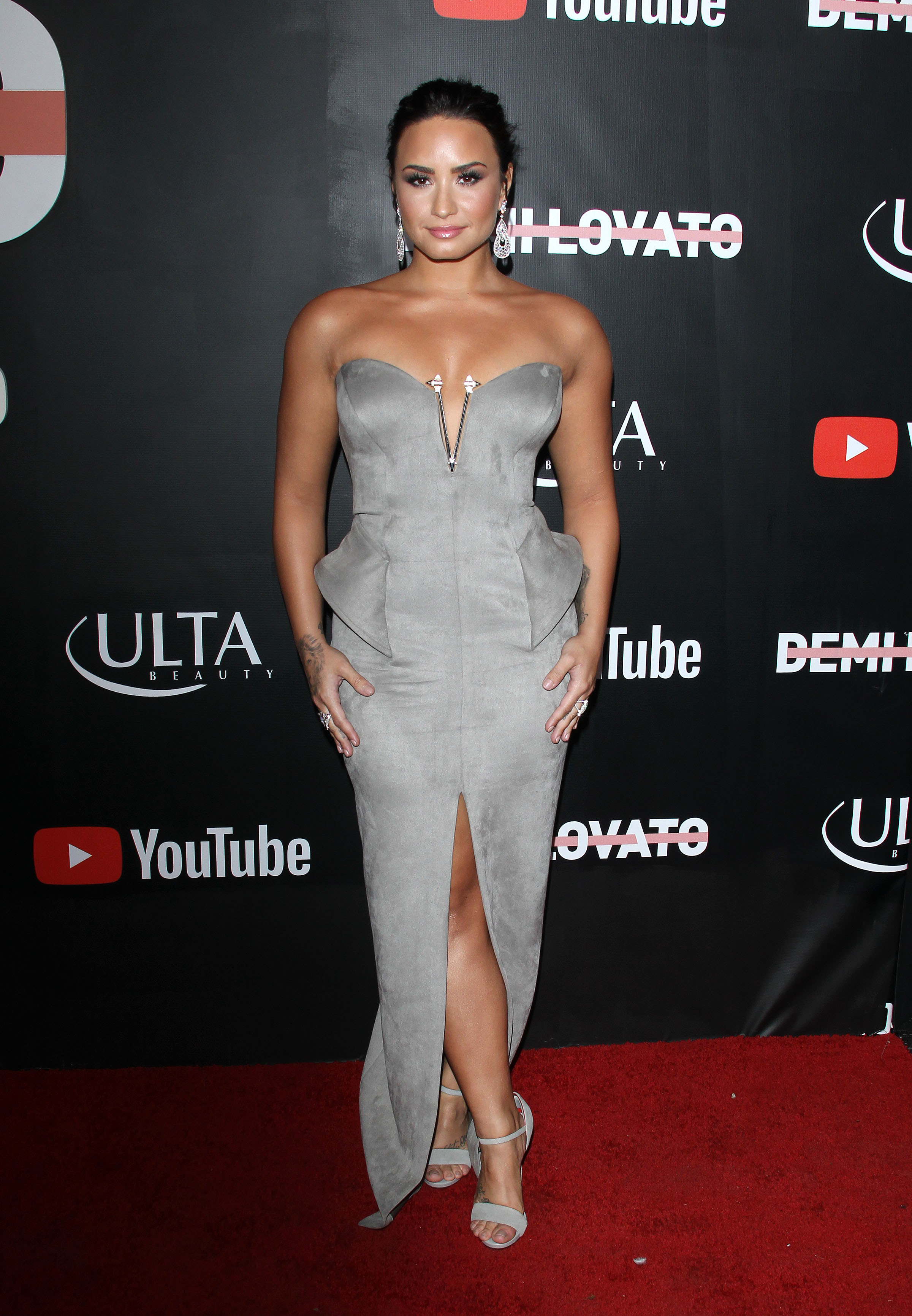 "Demi Lovato attends the premiere of YouTube's ""Demi Lovato: Simply Complicated"" documentary at the Fonda Theatre in Los Angeles on Oct. 11, 2017."