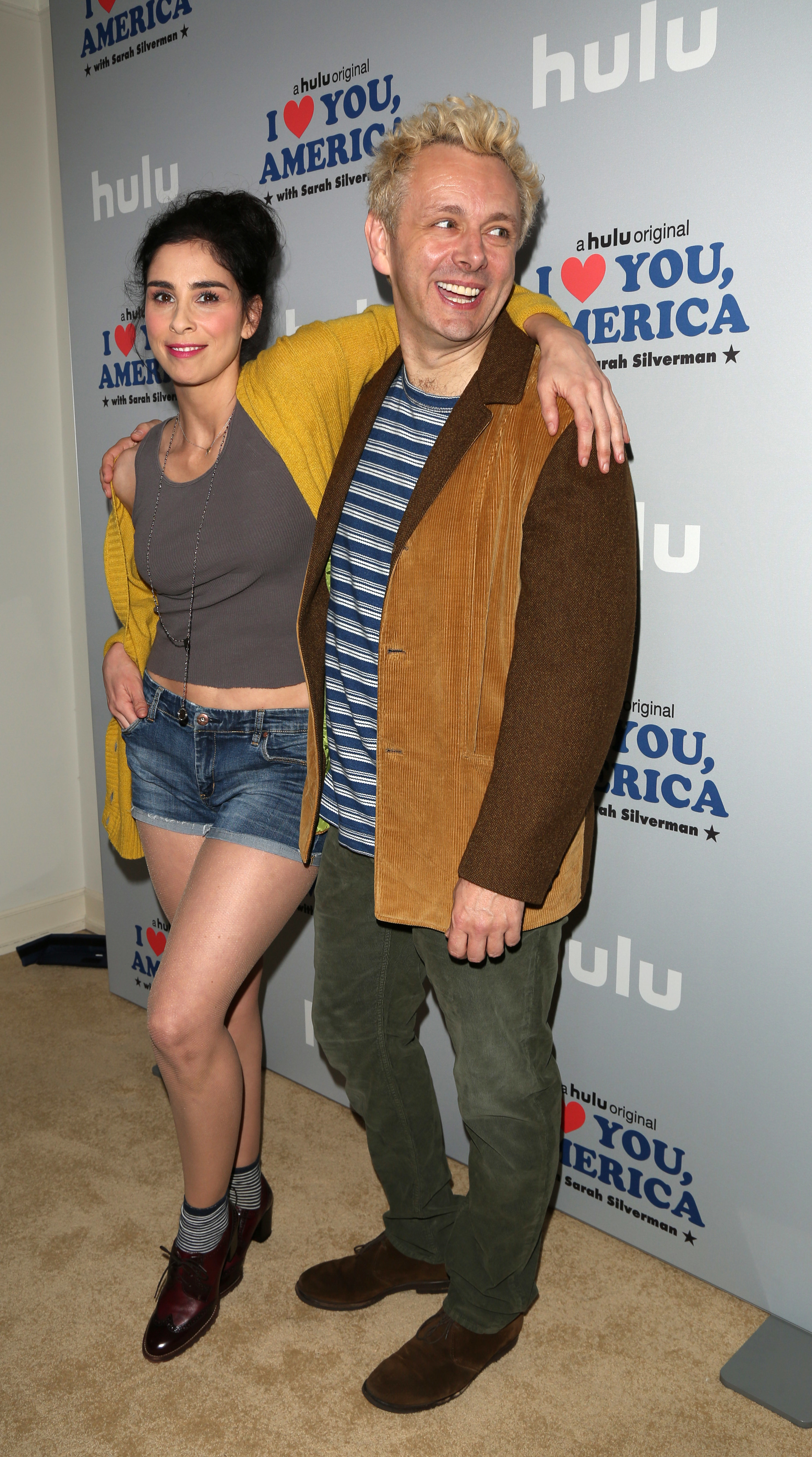 """Sarah Silverman and Michael Sheen attend photo call for Hulu's """"I Love You, America"""" at the Chateau Marmont in West Hollywood on Oct. 11, 2017."""