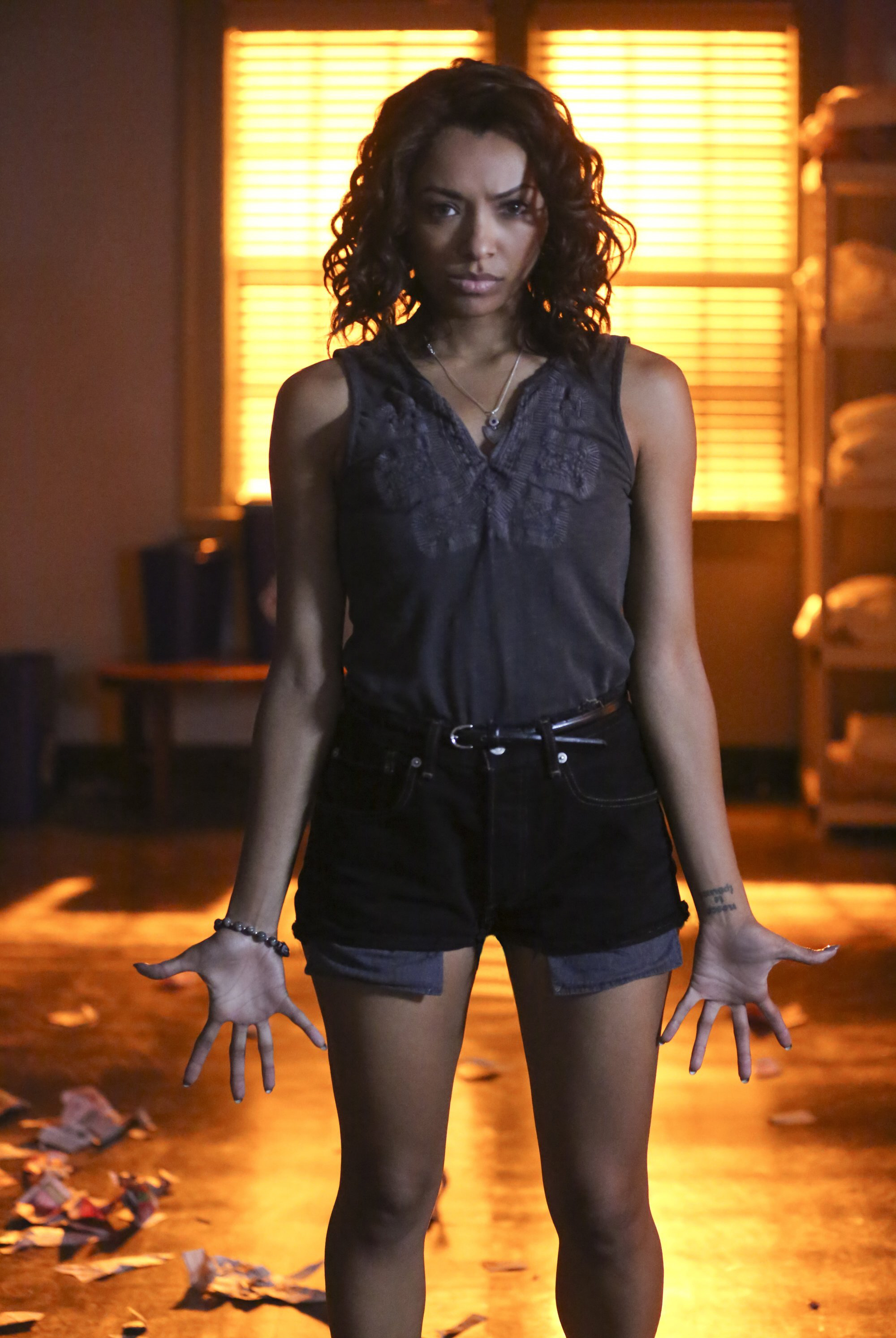 """Kat Graham starred as Bonnie Bennett on a Season 7 episode of The CW's """"The Vampire Diaries"""" titled """"Age of Innocence"""" in 2015."""