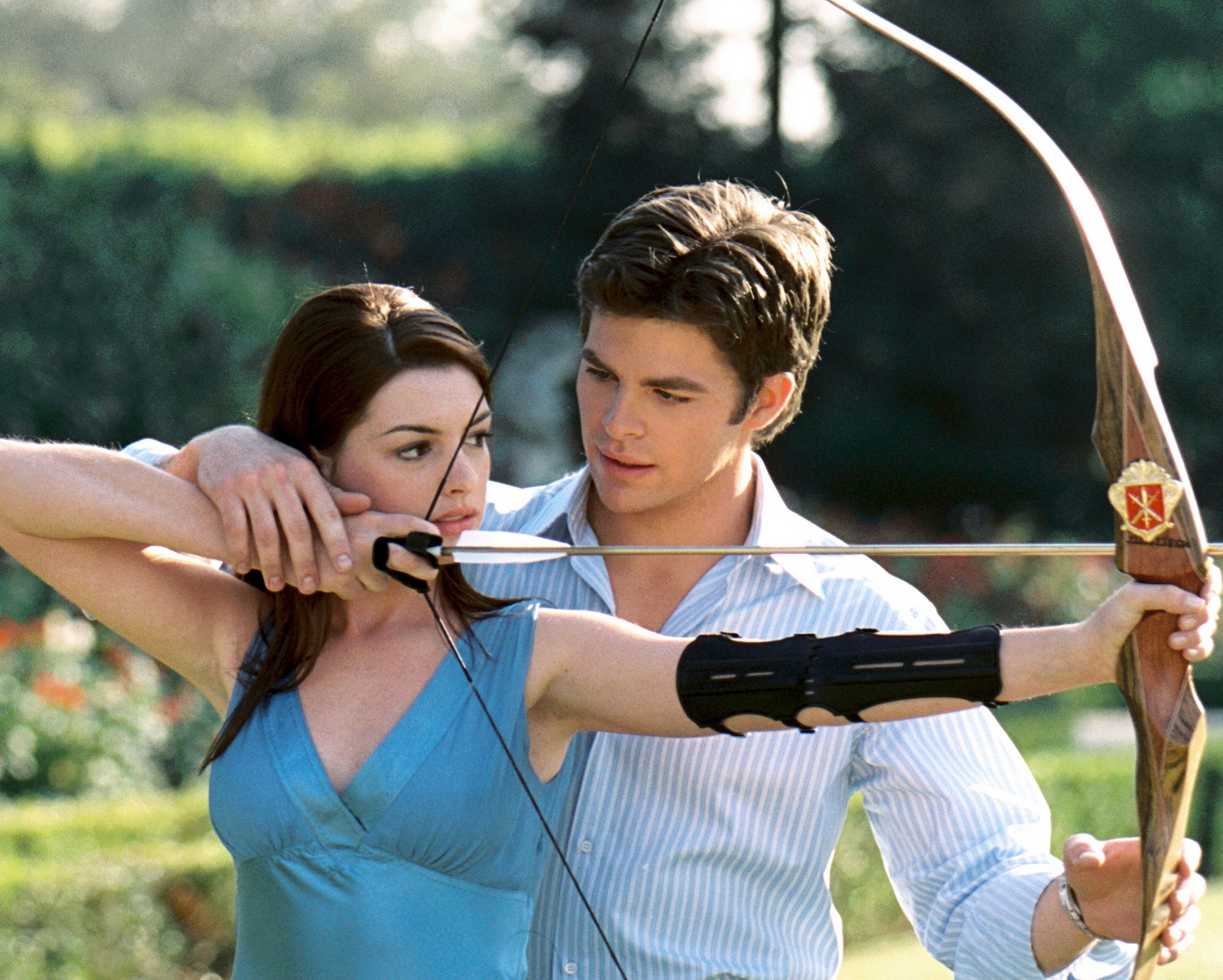 "Anne Hathaway and Chris Pine in ""Princess Diaries 2: The Royal Engagement"" in 2004."