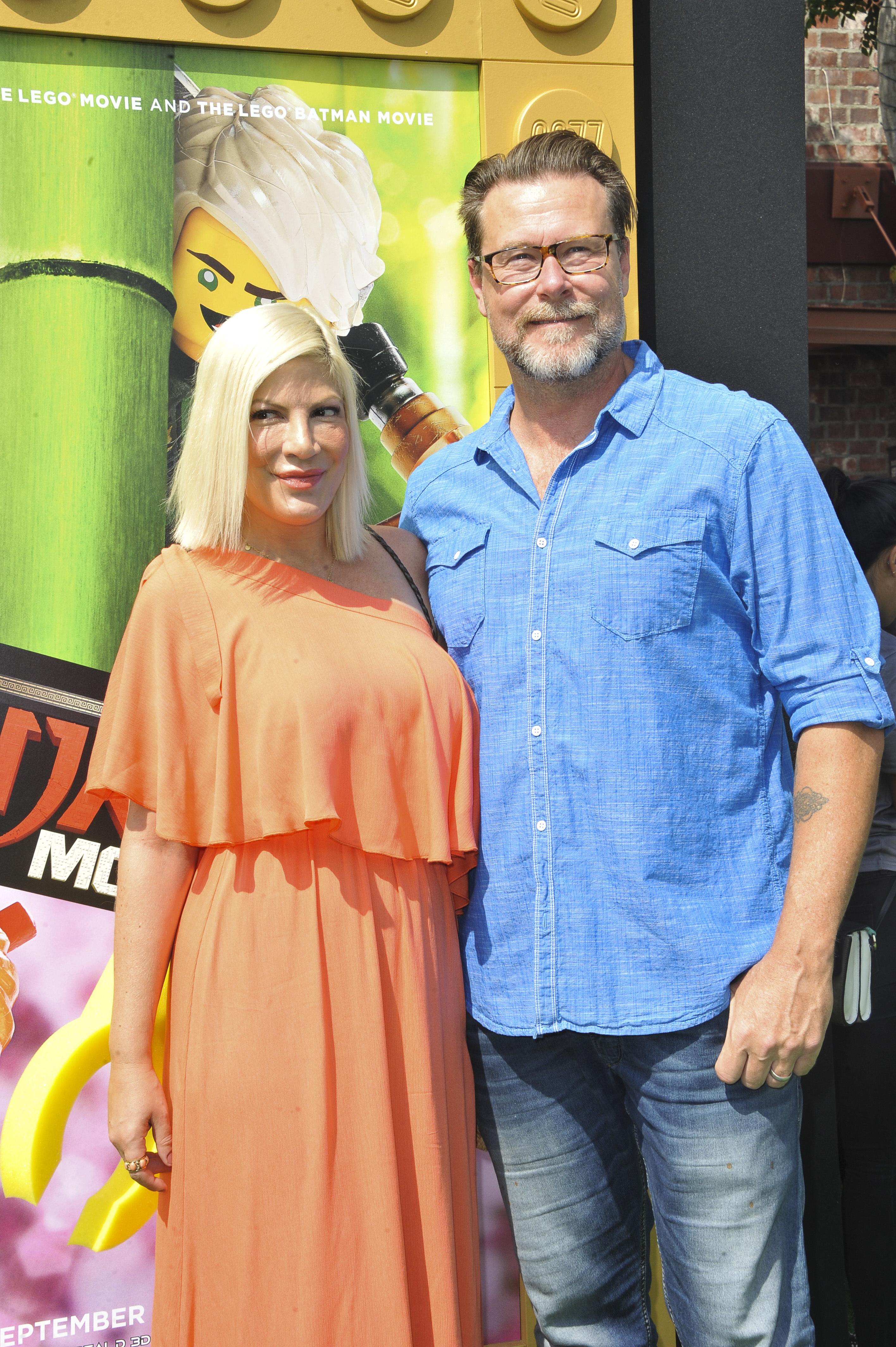 Tori Spelling and Dean McDermott attends 'The LEGO Ninjago Movie' on Los Angeles on Sept. 16, 2017.