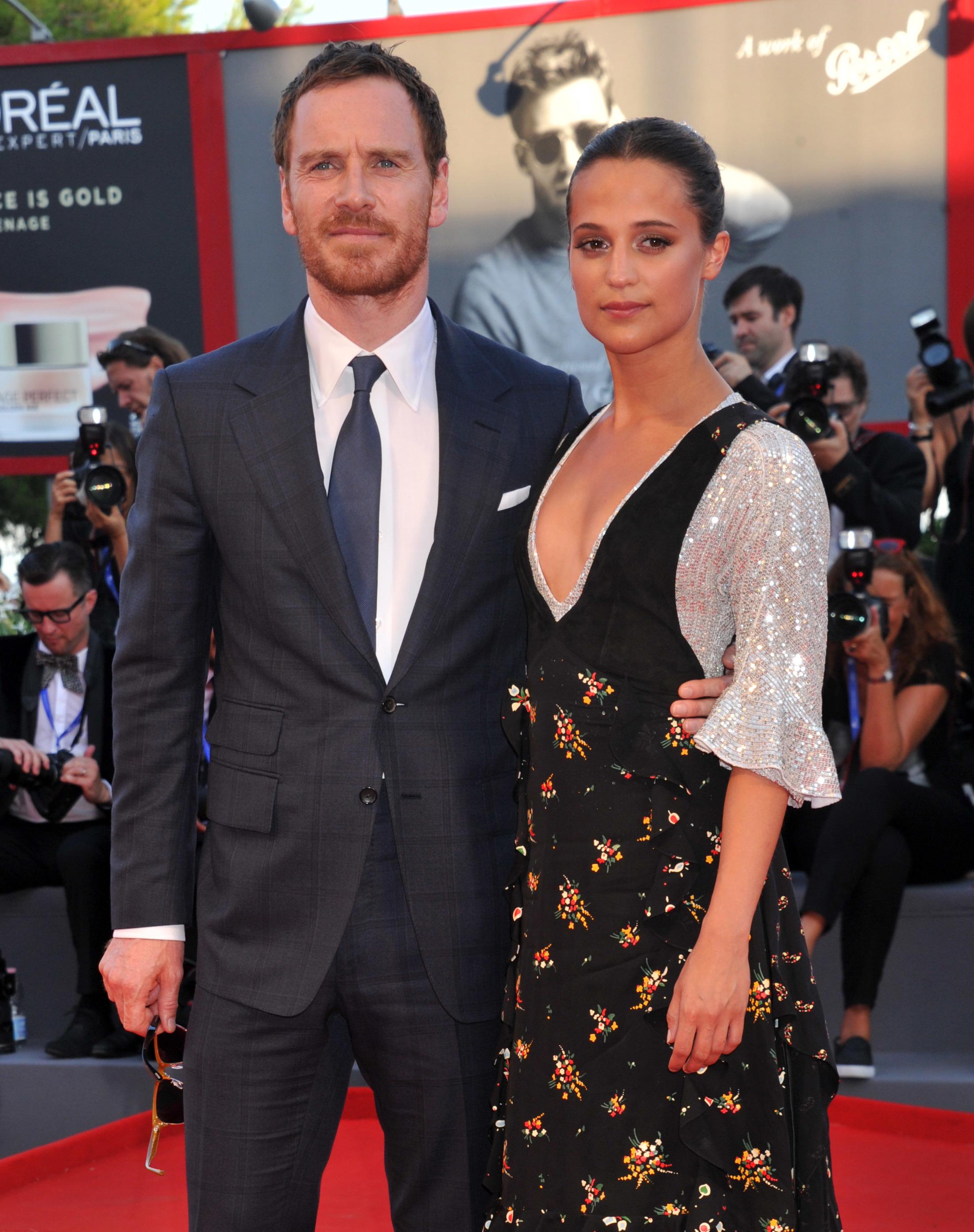 Alicia Vikander and Michael Fassbender attend the 73rd Venice Film Festival in Italy on Sept. 1, 2016.