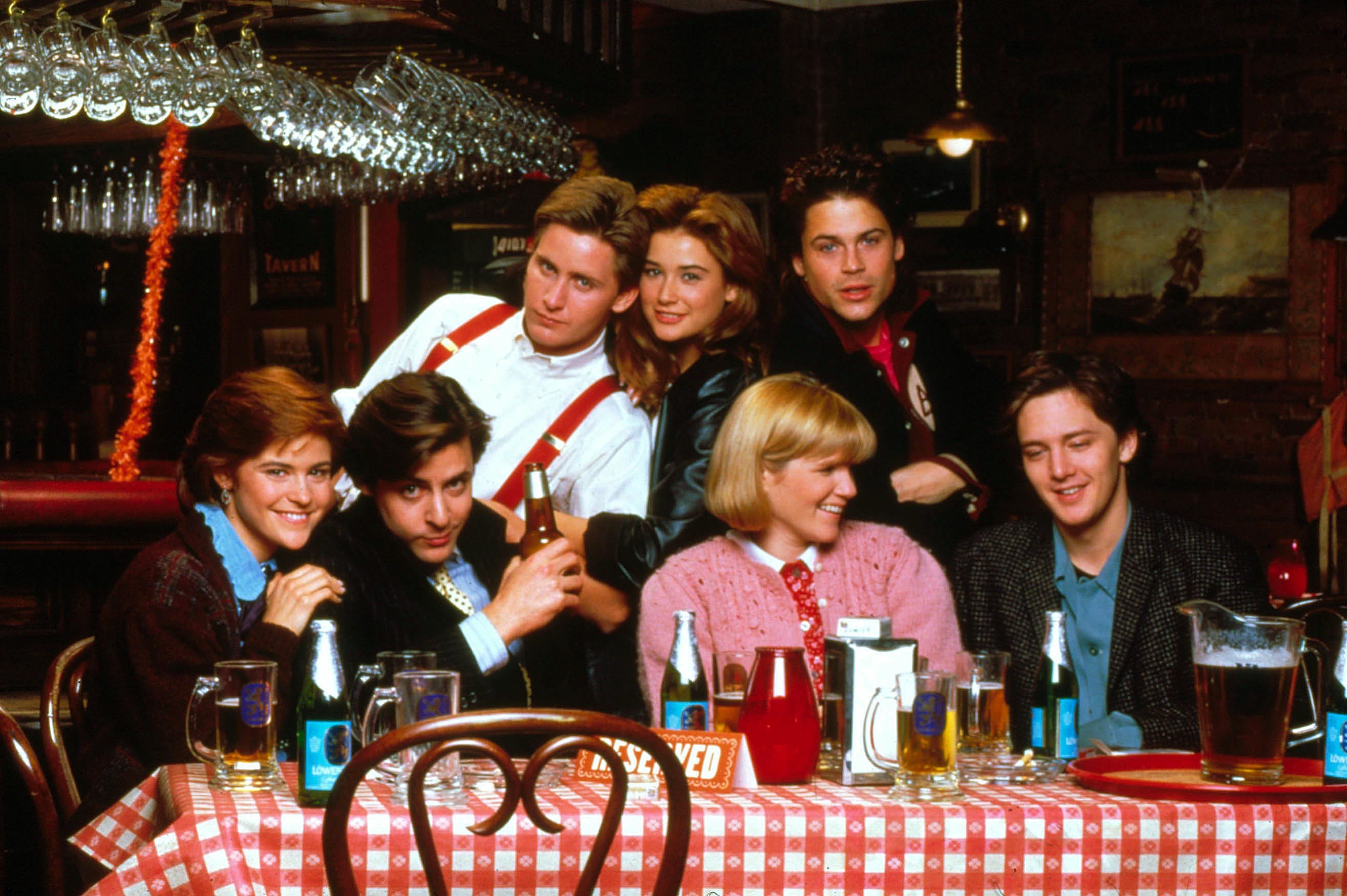"Ally Sheedy, Judd Nelson, Emilio Estevez, Demi Moore, Mare Winningham, Rob Lowe and Andrew McCarthy starred in 1985's ""St. Elmo's Fire."""