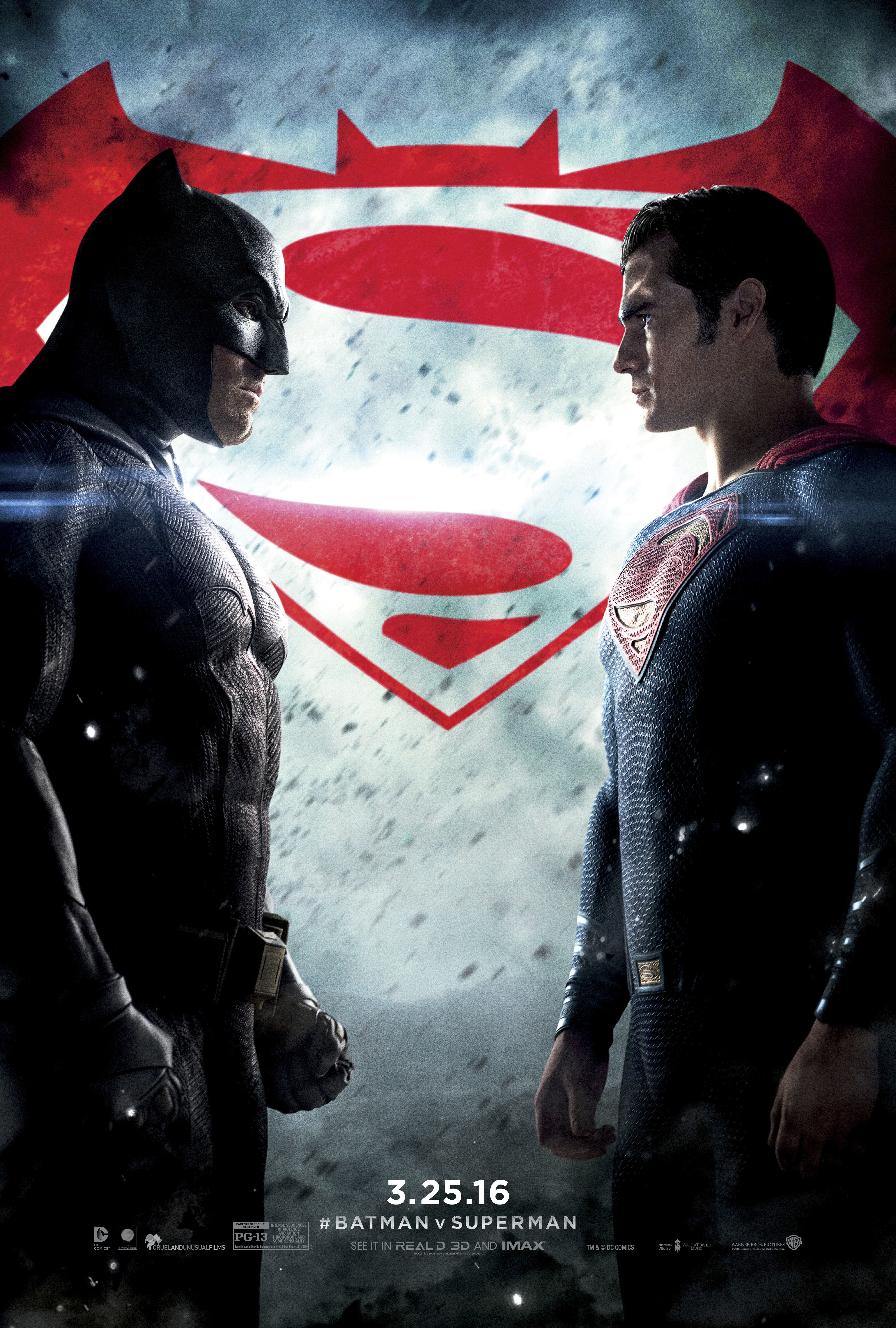 "Ben Affleck and Henry Cavill appear on the movie poster for 2016's ""Batman v Superman: Dawn of Justice."""