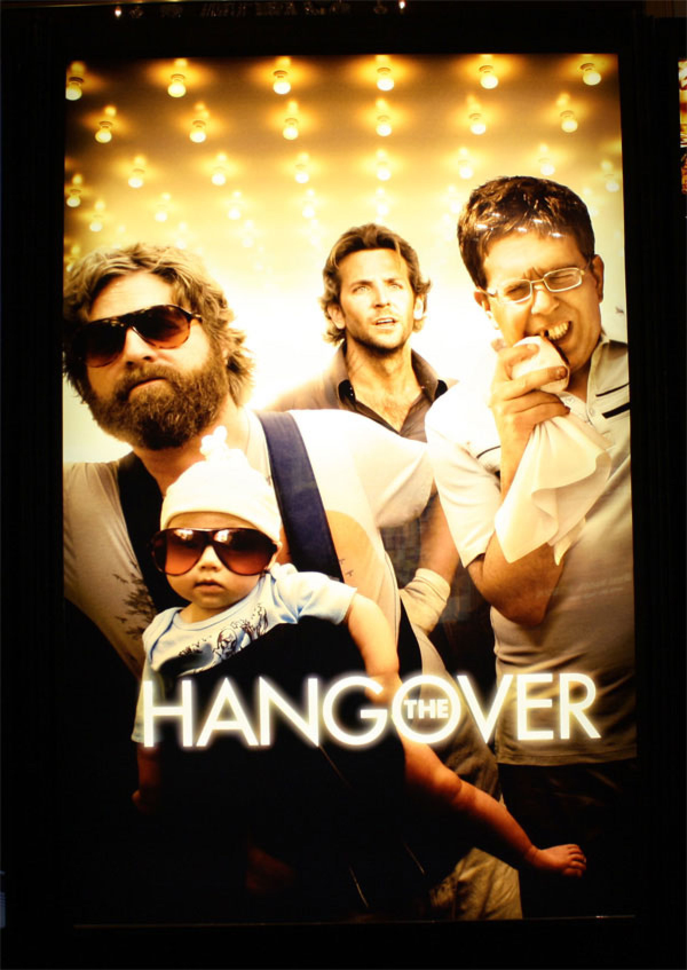 """Zach Galifianakis, Bradley Cooper and Ed Helms appear on the movie poster for 2009's """"The Hangover."""""""