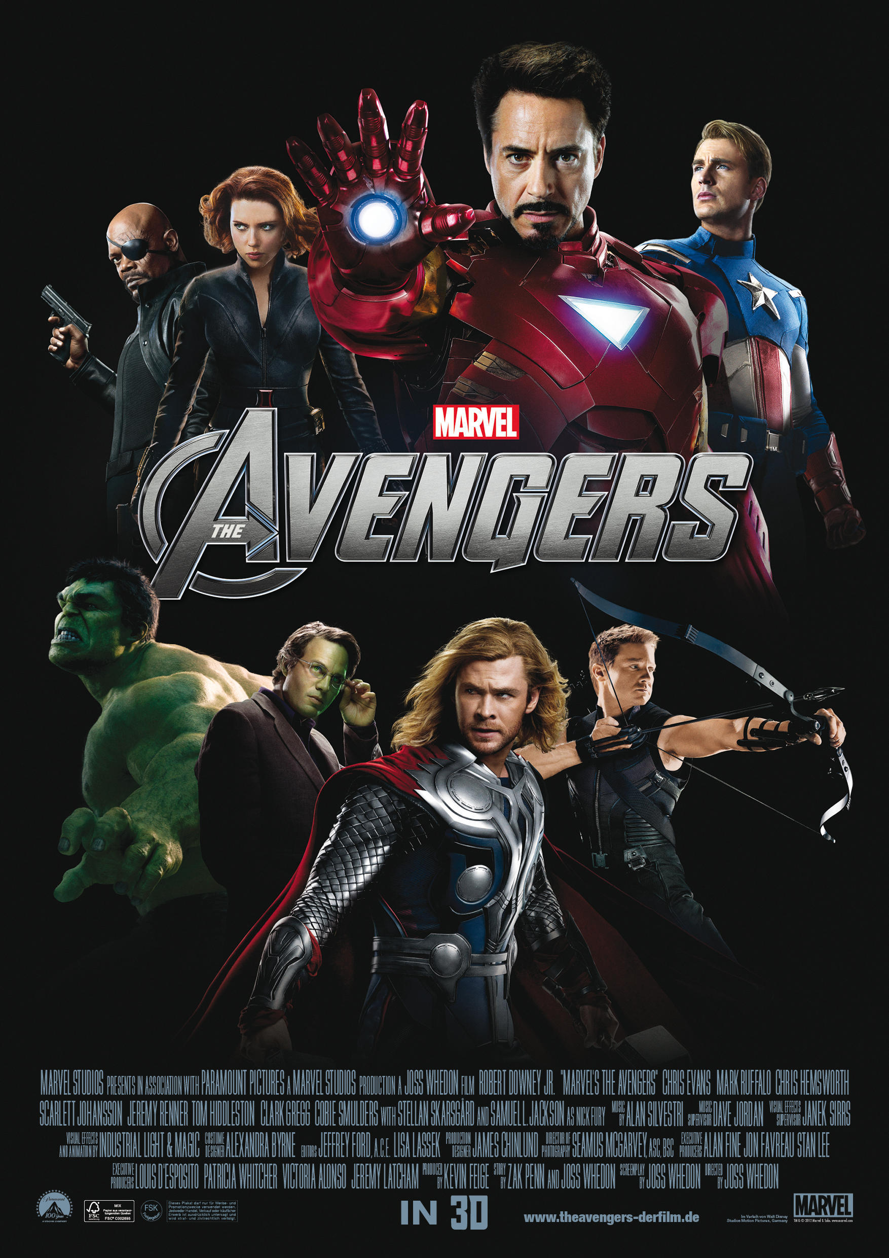 "Samuel L. Jackson, Scarlett Johansson, Robert Downey Jr., Chris Evans, Mark Ruffalo, Chris Hemsworth and Jeremy Renner appear on the movie poster for 2012's ""The Avengers."""