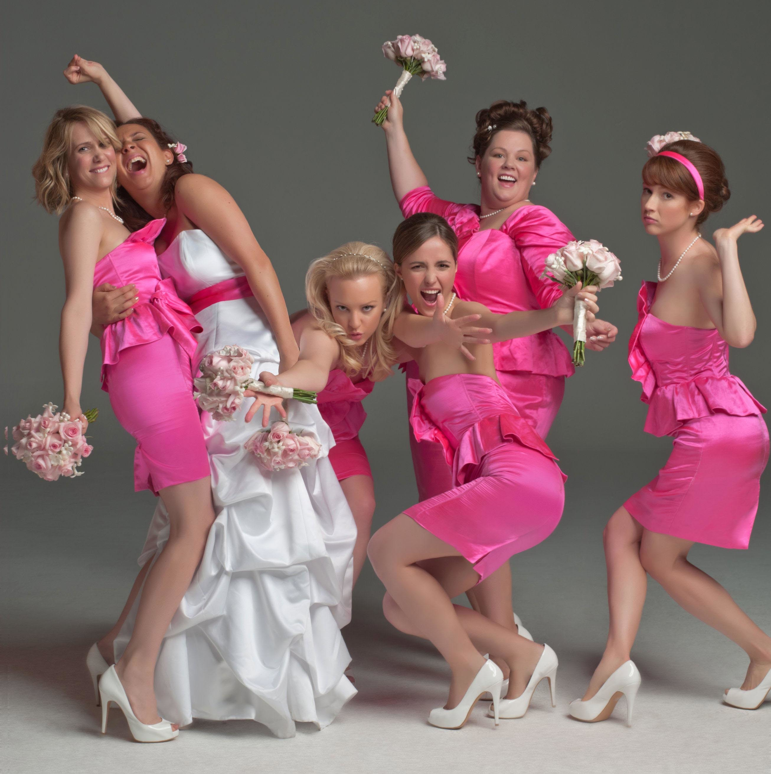 """Kristen Wiig, Maya Rudolph, Wendi Mclendon Covey, Rose Byrne, Melissa McCarthy and Ellie Kemper appear in a promotional photo for 2011's """"Bridesmaids."""""""