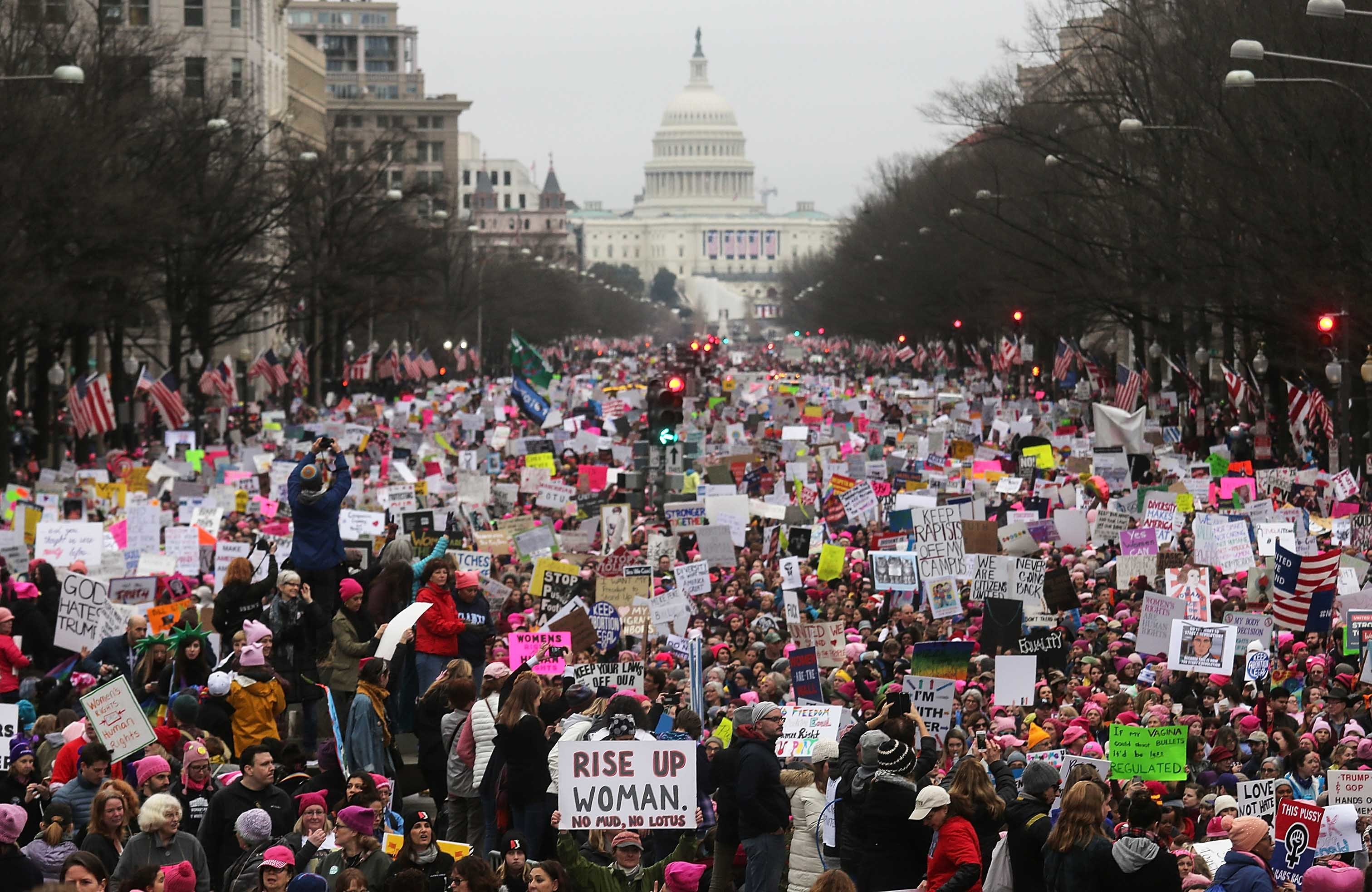 Protesters walk during the Women's March on Washington on January 21, 2017 in Washington, DC.