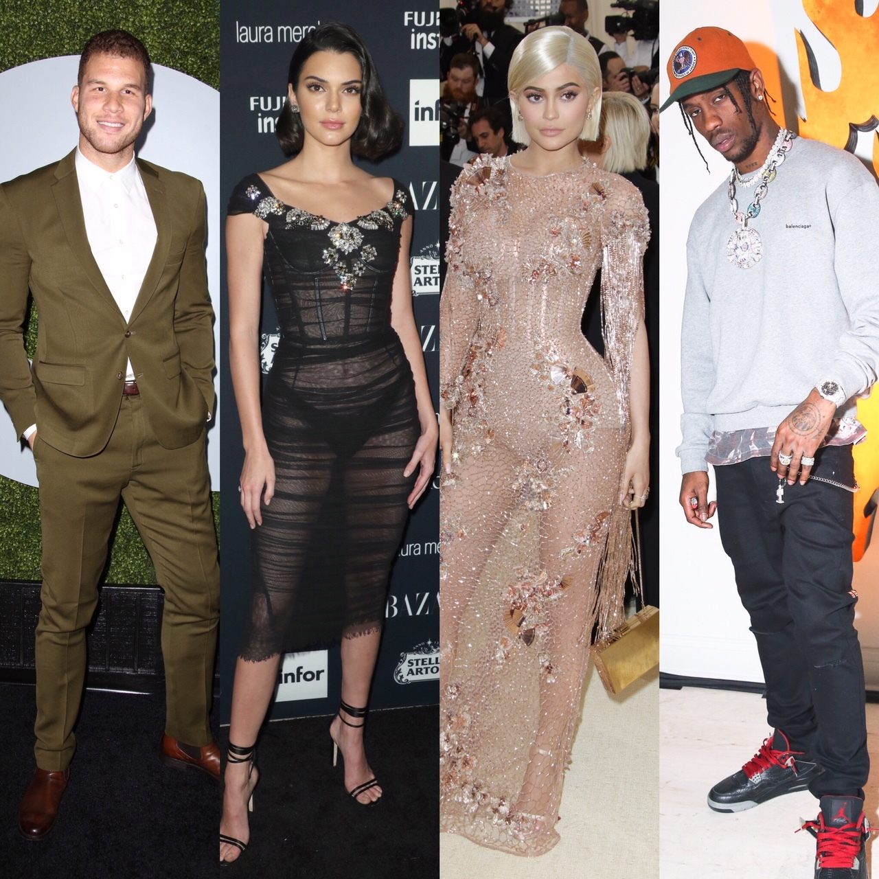 Blake Griffin at the GQ Men Of The Year in Los Angeles on Dec. 4, 2014. Kendall Jenner at the Harper's Bazaar ICONS party in New York City on Sept. 8, 2017. Kylie Jenner attends the The Costume Institute Benefit in New York City on May 1, 2017. Travis Scott attends the Ksubi x Travis Scott collaboration in New York City on Oct. 12, 2017.