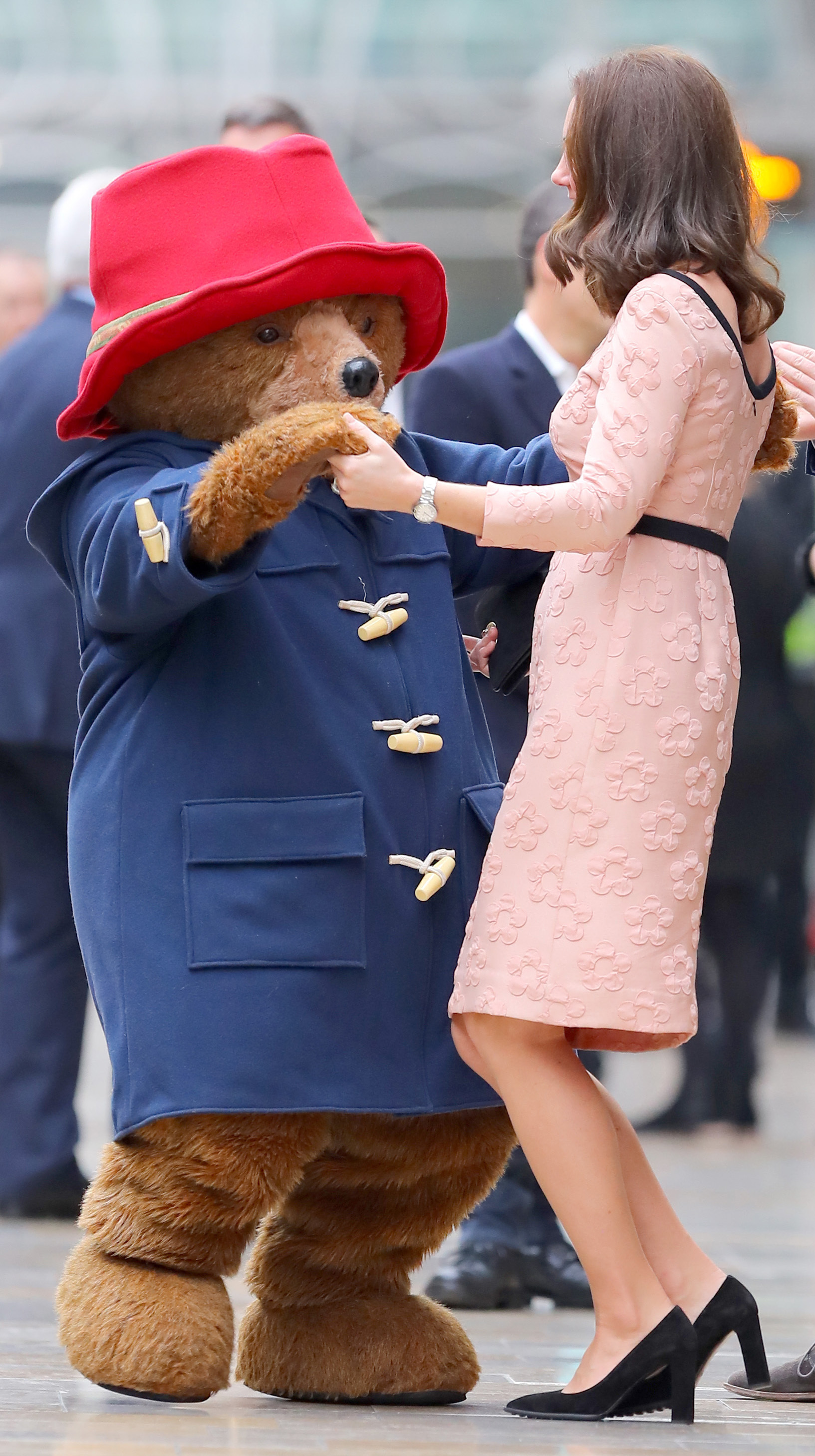 Duchess Kate dances with the Paddington Bear in London on Oct. 16, 2017.