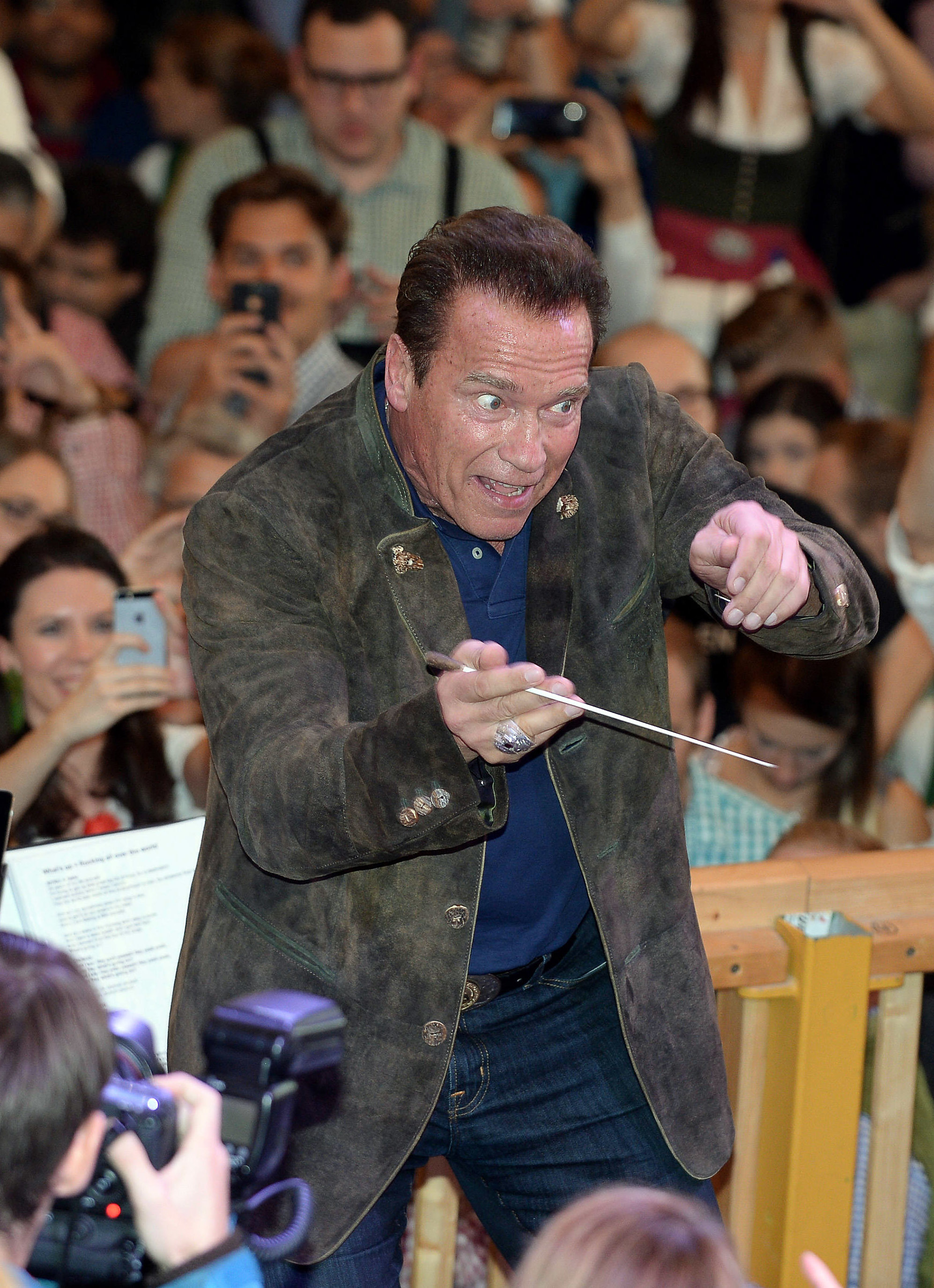 Arnold Schwarzenegger attends the Oktoberfest at Theresienwiese in Munich, Germany on Sept. 26, 2017.
