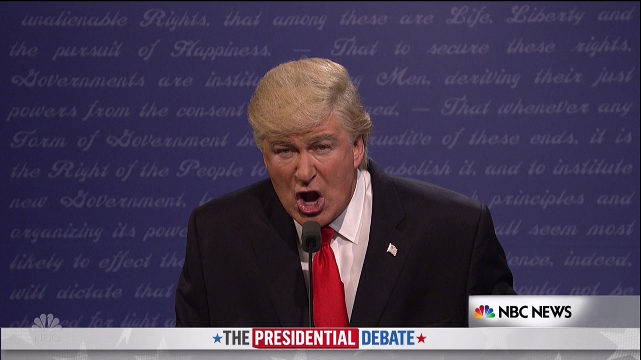 "Alec Baldwin stars as Donald Trump in the satire of the third debate cold open on ""SNL"" on Oct. 24, 2016."