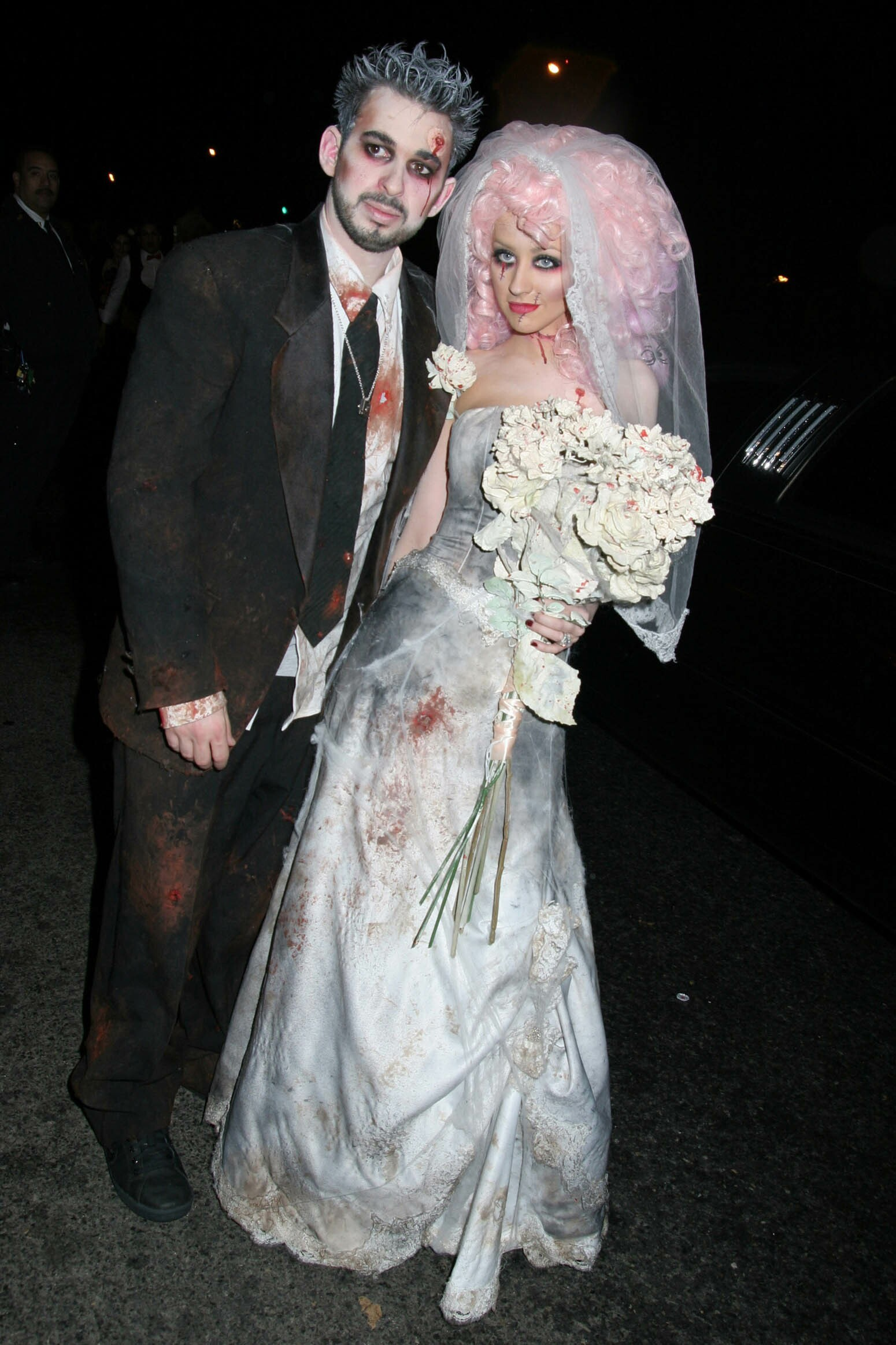 Christina Aguilera and ex  husband, Jordan Bratman, dressed as undead newlyweds in bloodied and soiled wedding attire in New York City on Oct. 30, 2006.