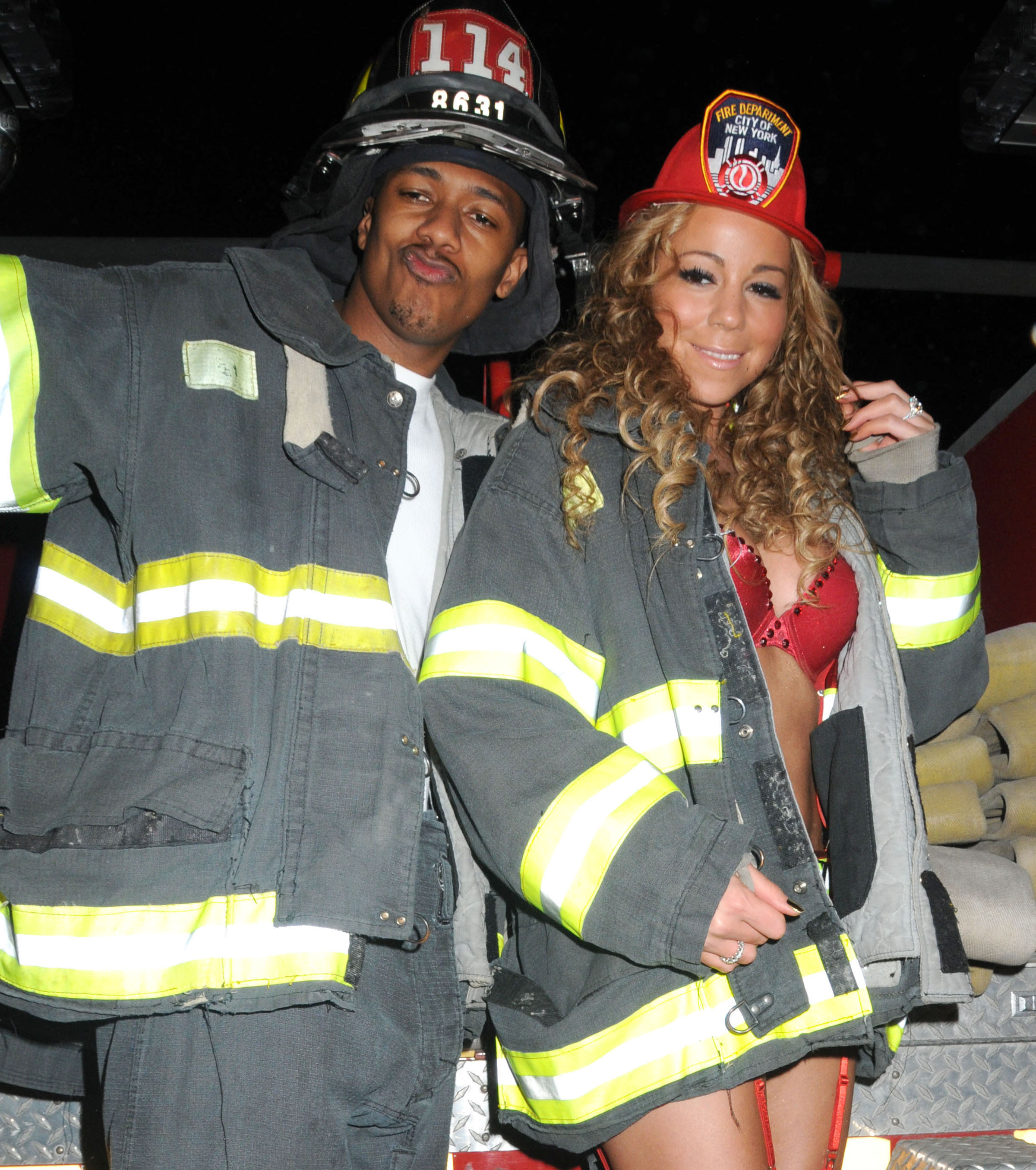 Mariah Carey and Nick Cannon celebrate Halloween in New York City on Oct. 30, 2008.