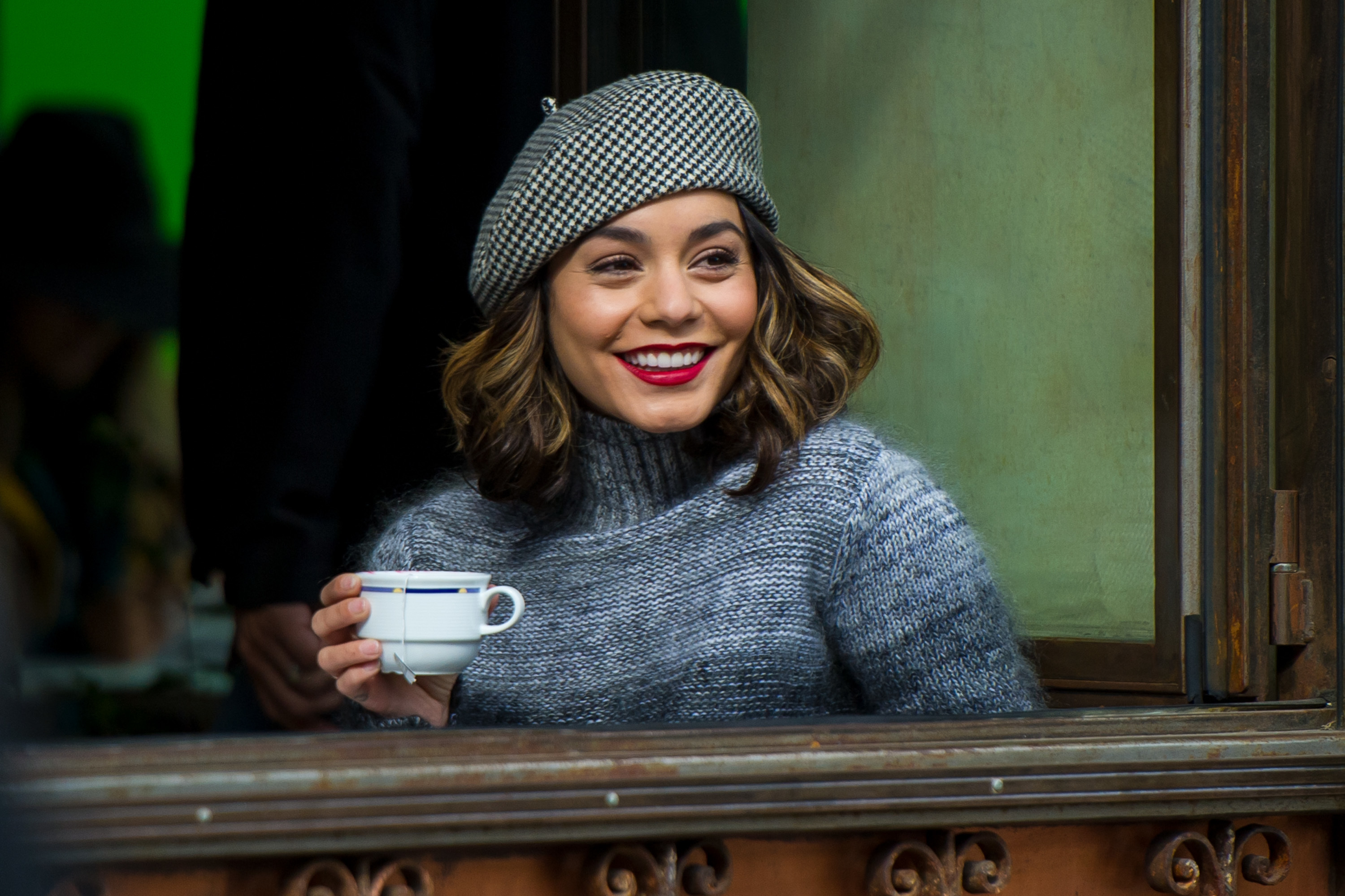Vanessa Hudgens was spotted out for a cup of coffee in an adorable beret in Brooklyn, New York on Oct. 25, 2017.