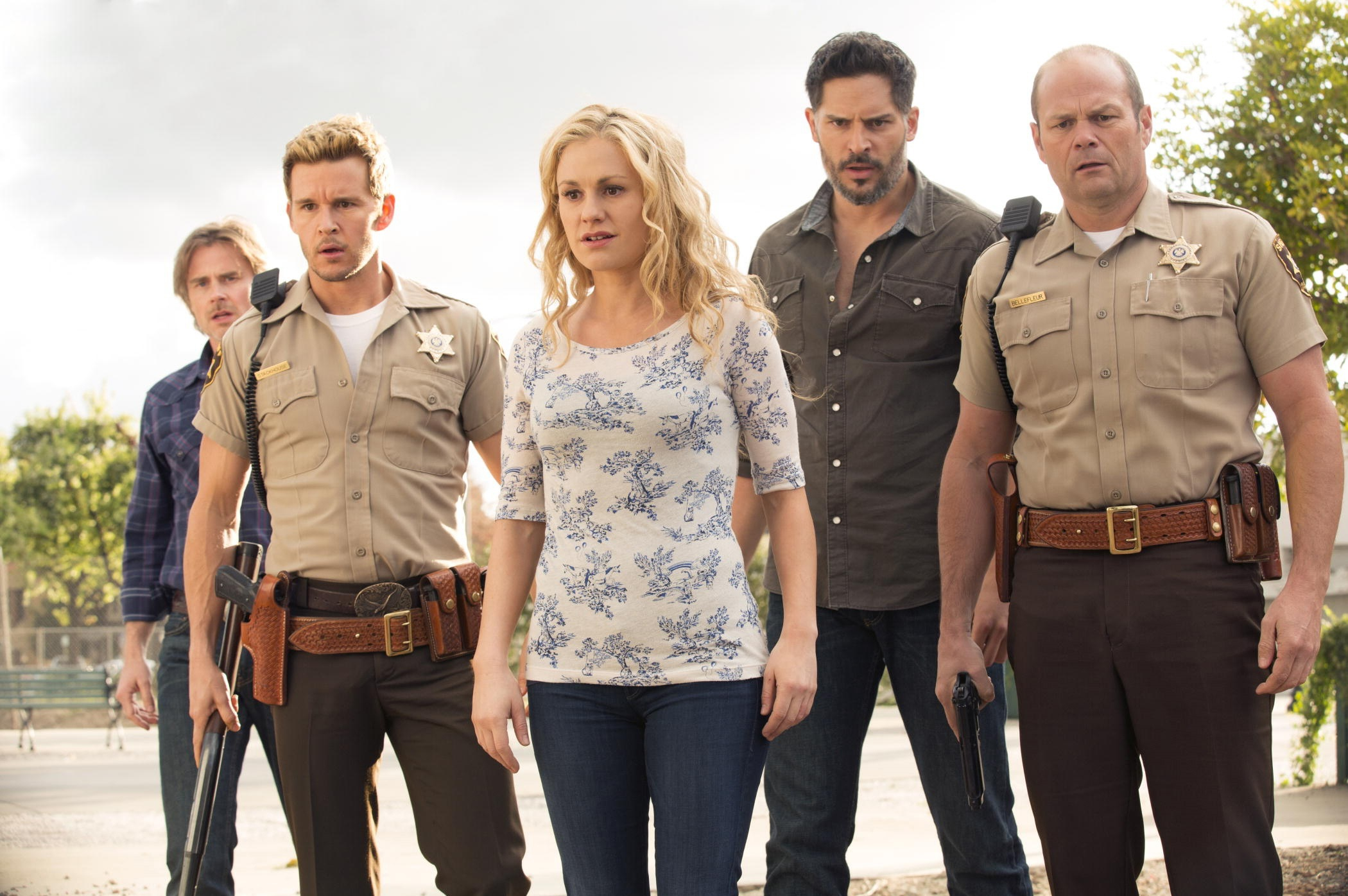 "From left to right: Sam Trammell, Ryan Kwanten, Anna Paquin, Joe Manganiello and Chris Bauer star in the final season of ""True Blood"" in 2014."