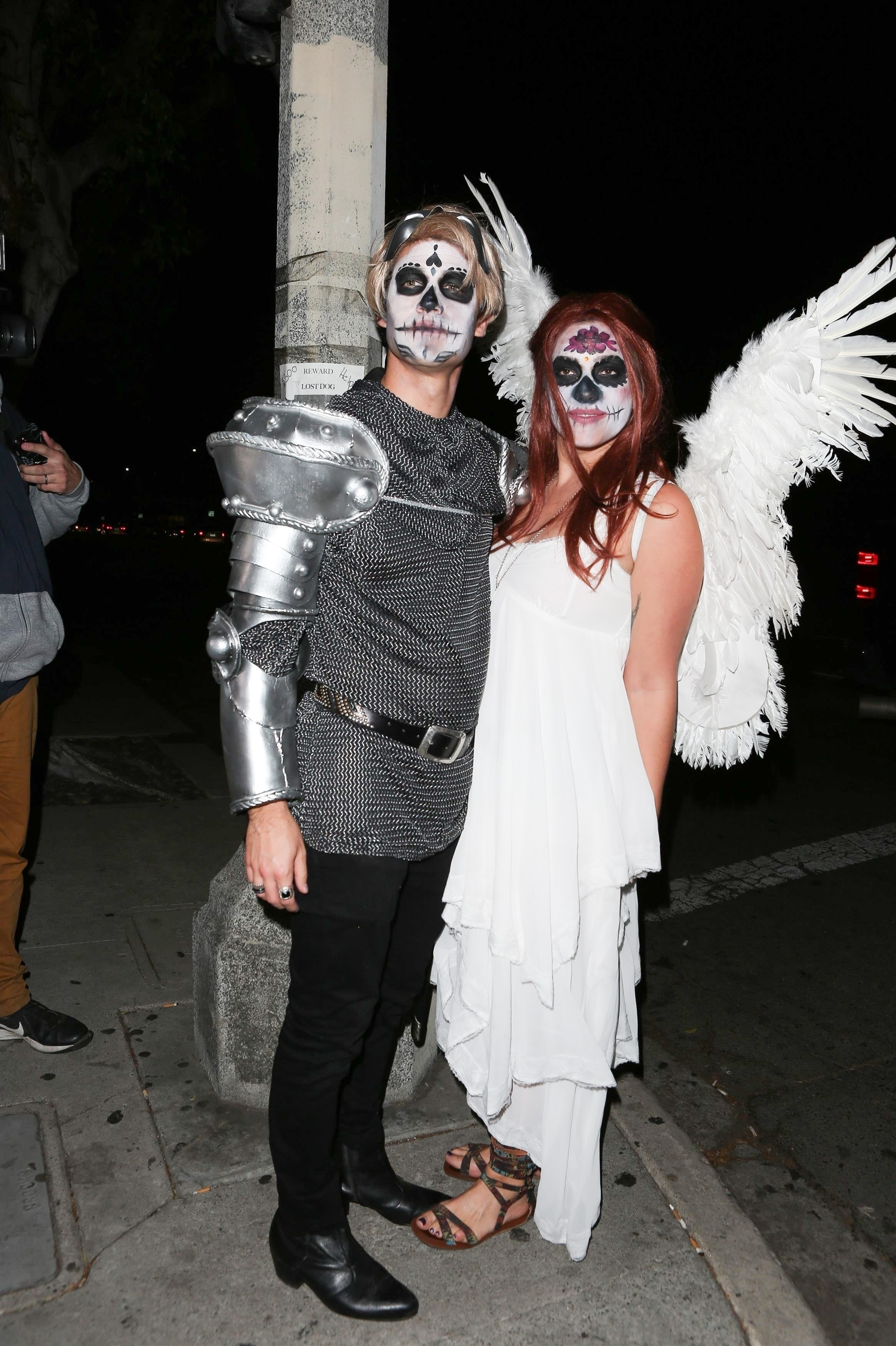 Darren Criss and Mia Swier attend Matthew Morrison's 7th annual Halloween party in Los Angeles, Calif., on Oct. 28, 2017.