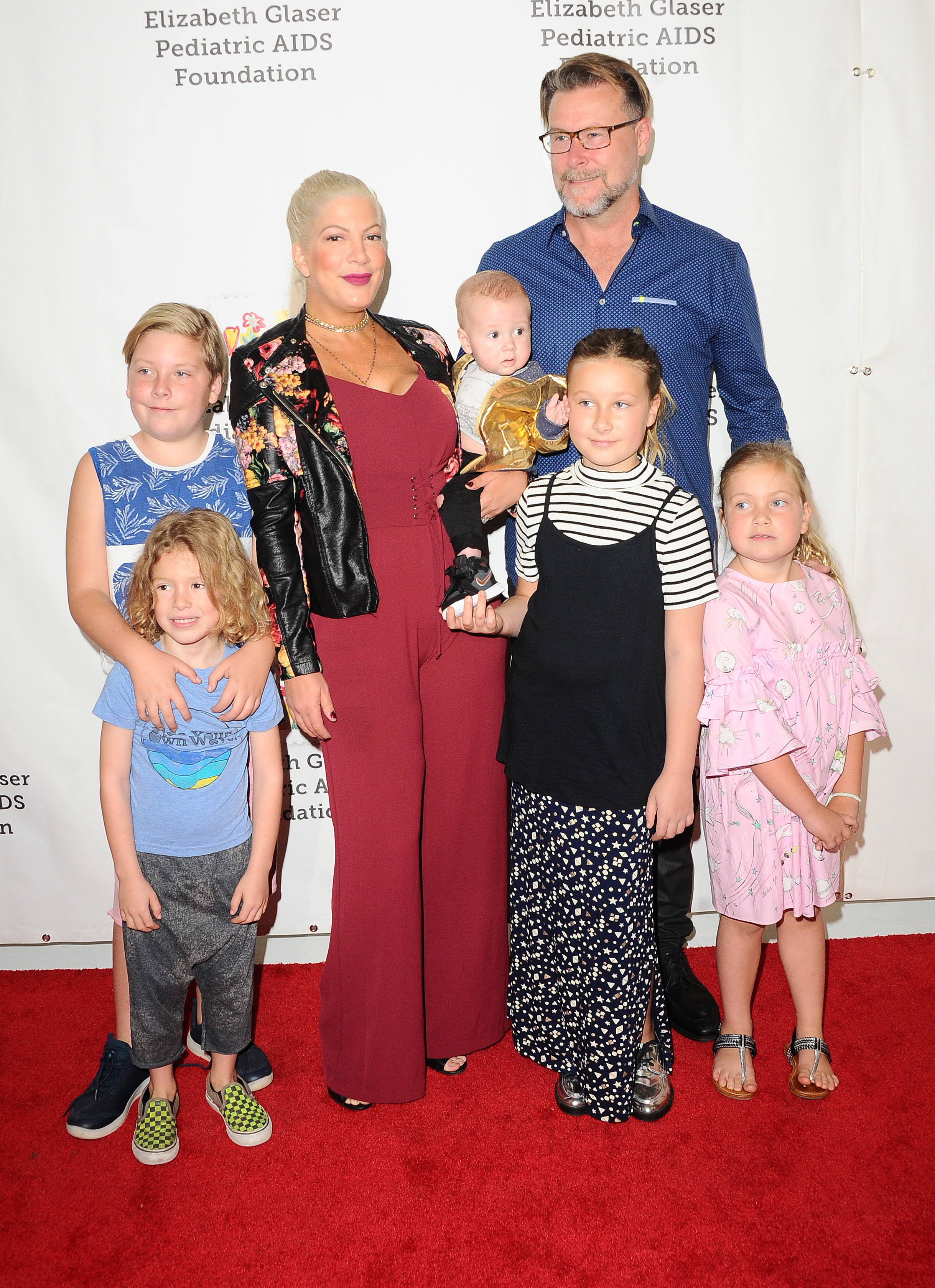 Tori Spelling, Dean McDermott and their family attend the Elizabeth Glaser Pediatric Aids Foundation in Culver City, Calif., on Oct. 29, 2017.