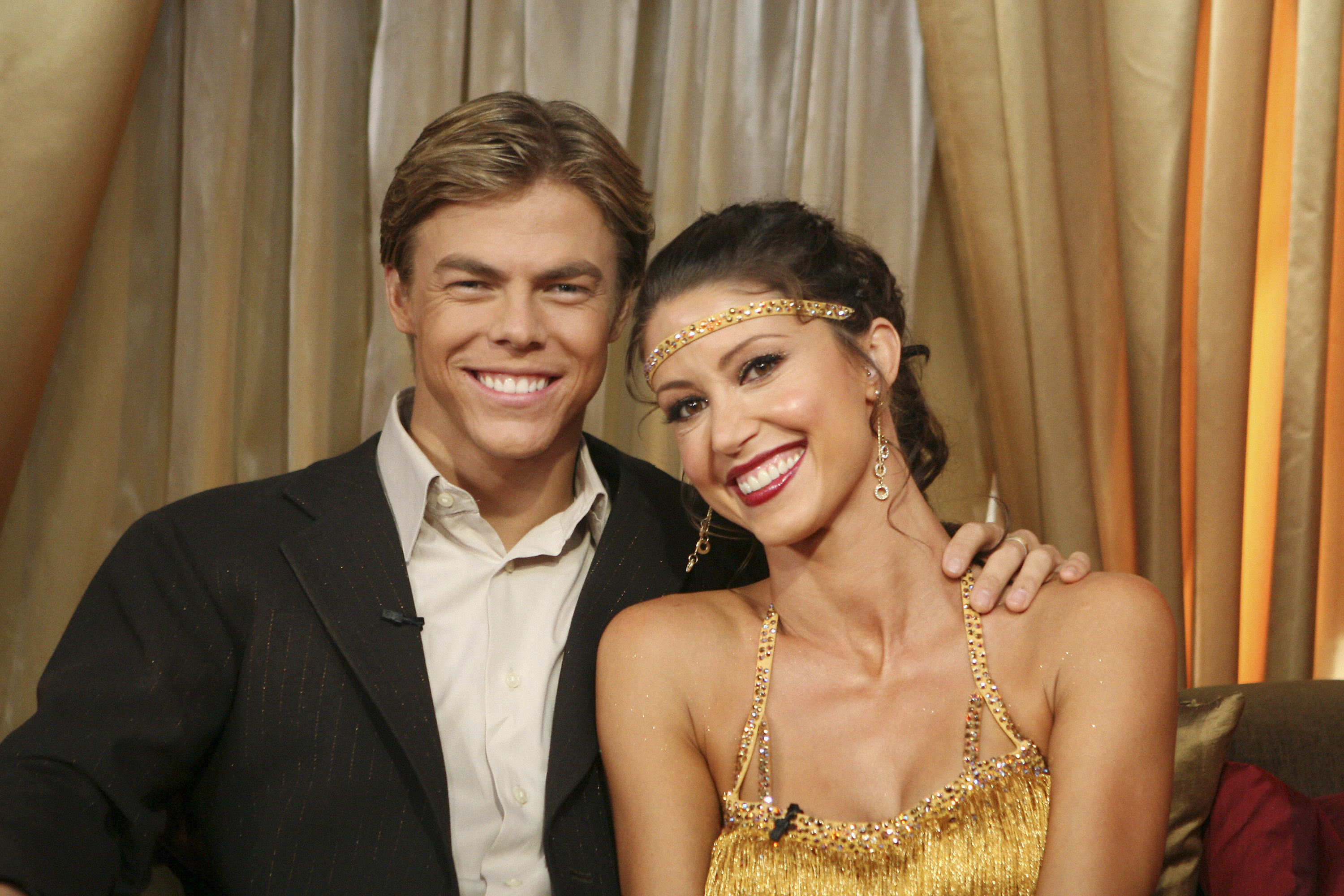 """Shannon Elizabeth poses with dance partner and  former boyfriend Derek Hough before a performance on """"Dancing With the Stars"""": Season 6 in Los Angeles on April 1, 2008."""