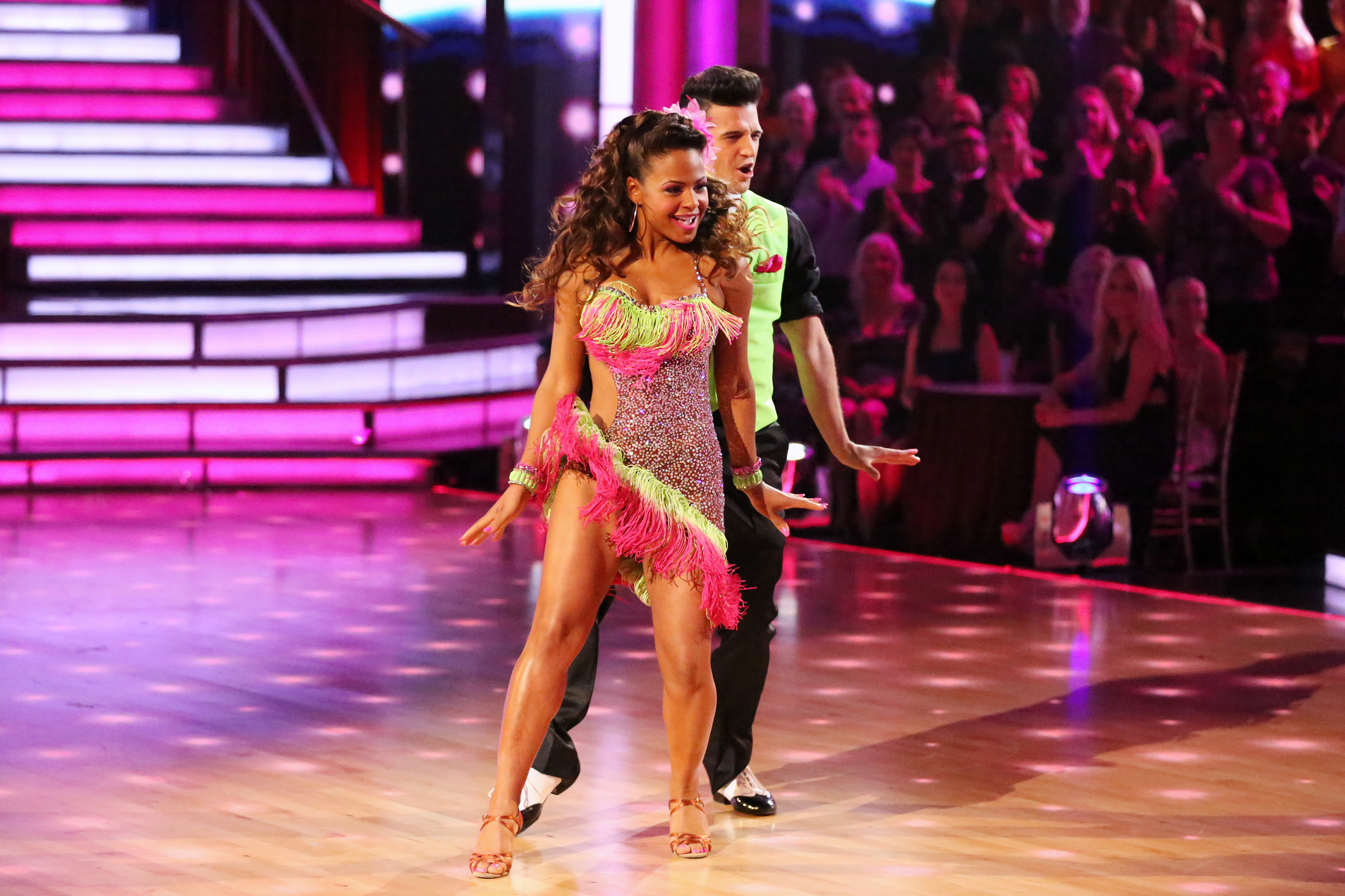 """Christina Milian dances with partner Mark Ballas on """"Dancing With the Stars"""": Season 17 in Los Angeles on Oct. 14, 2013."""