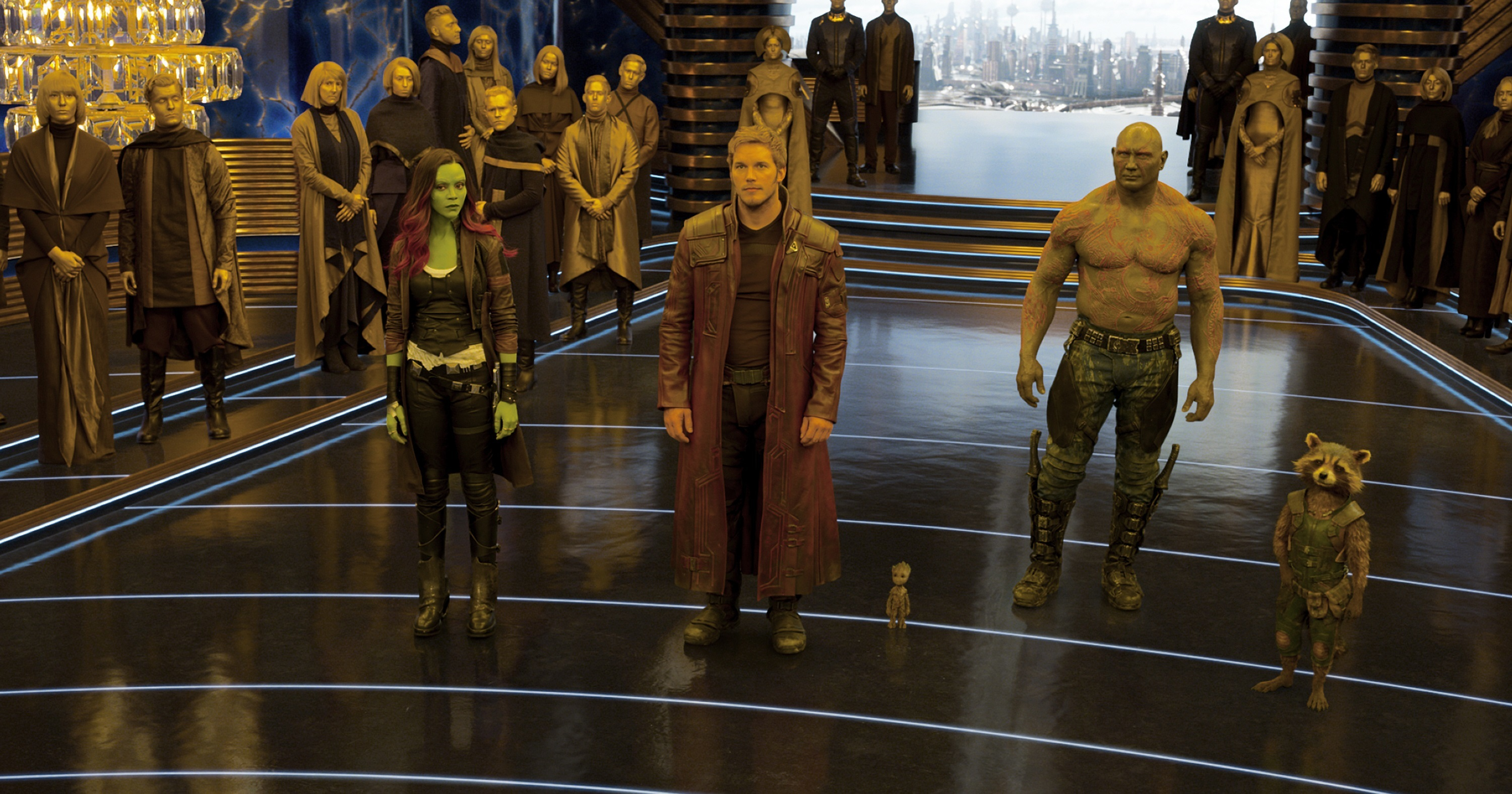 "From left: Zoe Saldana, Chris Pratt, Baby Groot (voiced by Vin Diesel), Dave Bautista and Rocket (voiced by Bradley Cooper) star in ""Guardians of the Galaxy Vol. 2"" in 2017."