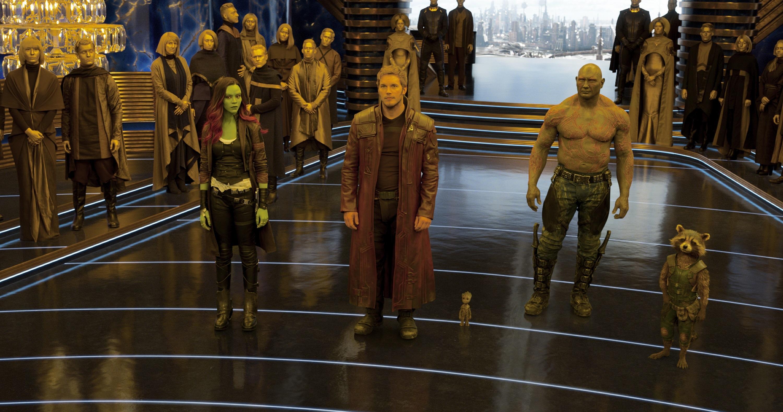 "Zoe Saldana, Chris Pratt, Vin Diesel, Dave Bautista and Bradley Cooper starred in 2017's ""Guardians of the Galaxy Vol. 2."""