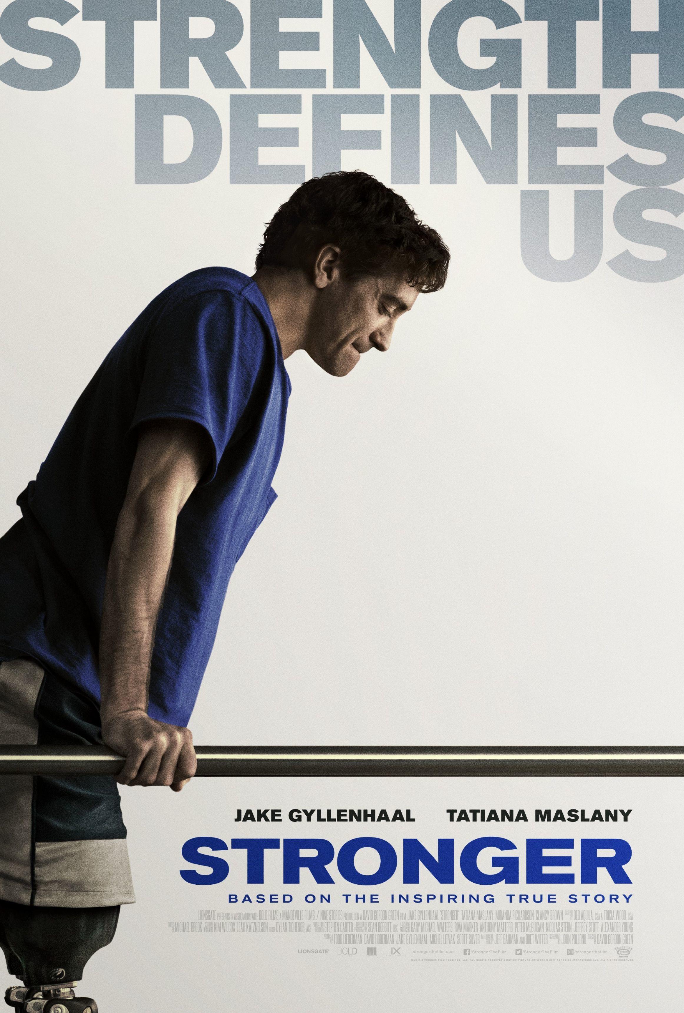 "Jake Gyllenhaal appears on the movie poster for 2017's ""Stronger."""