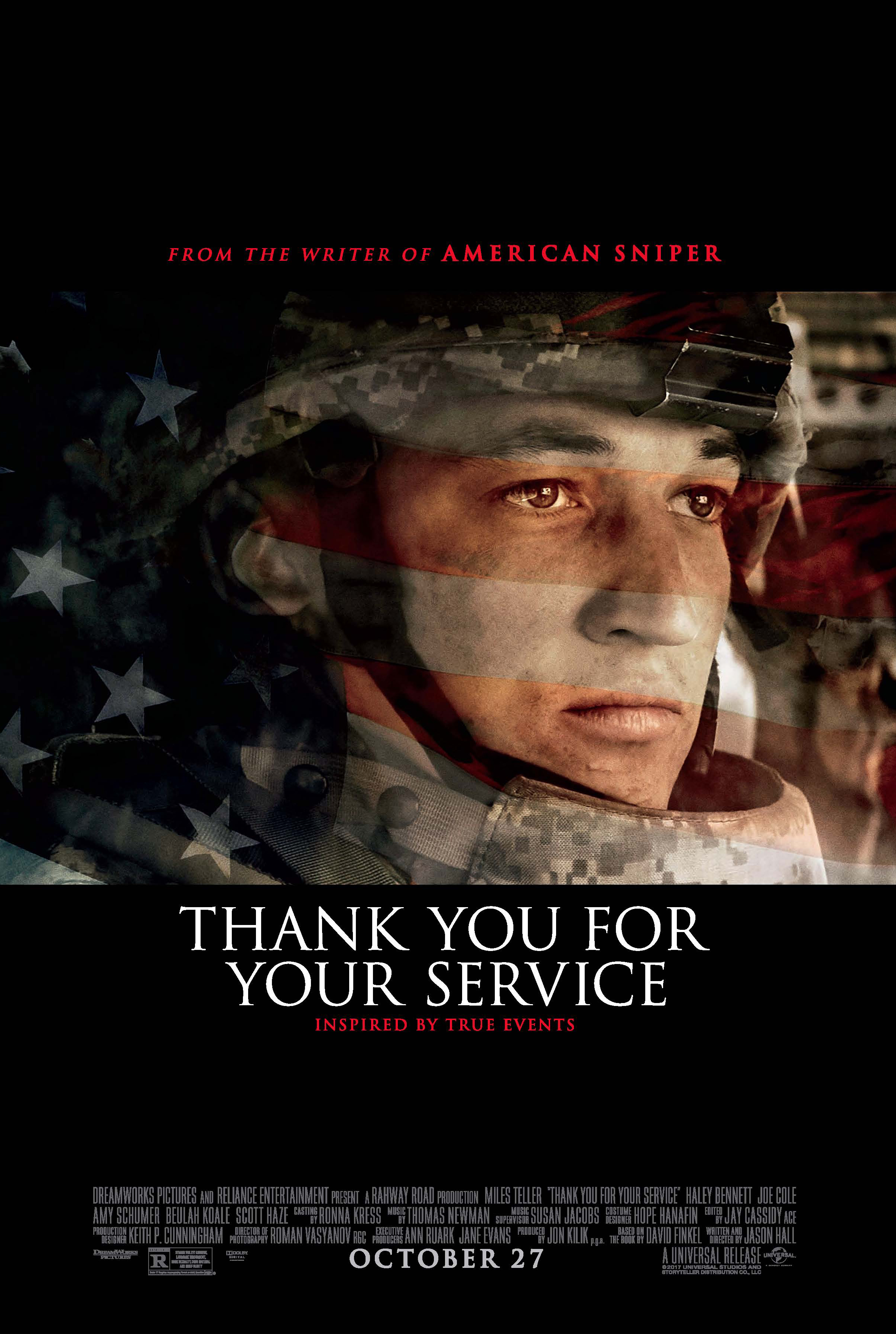 "Miles Teller appears on the movie poster for 2017's ""Thank You for Your Service."""