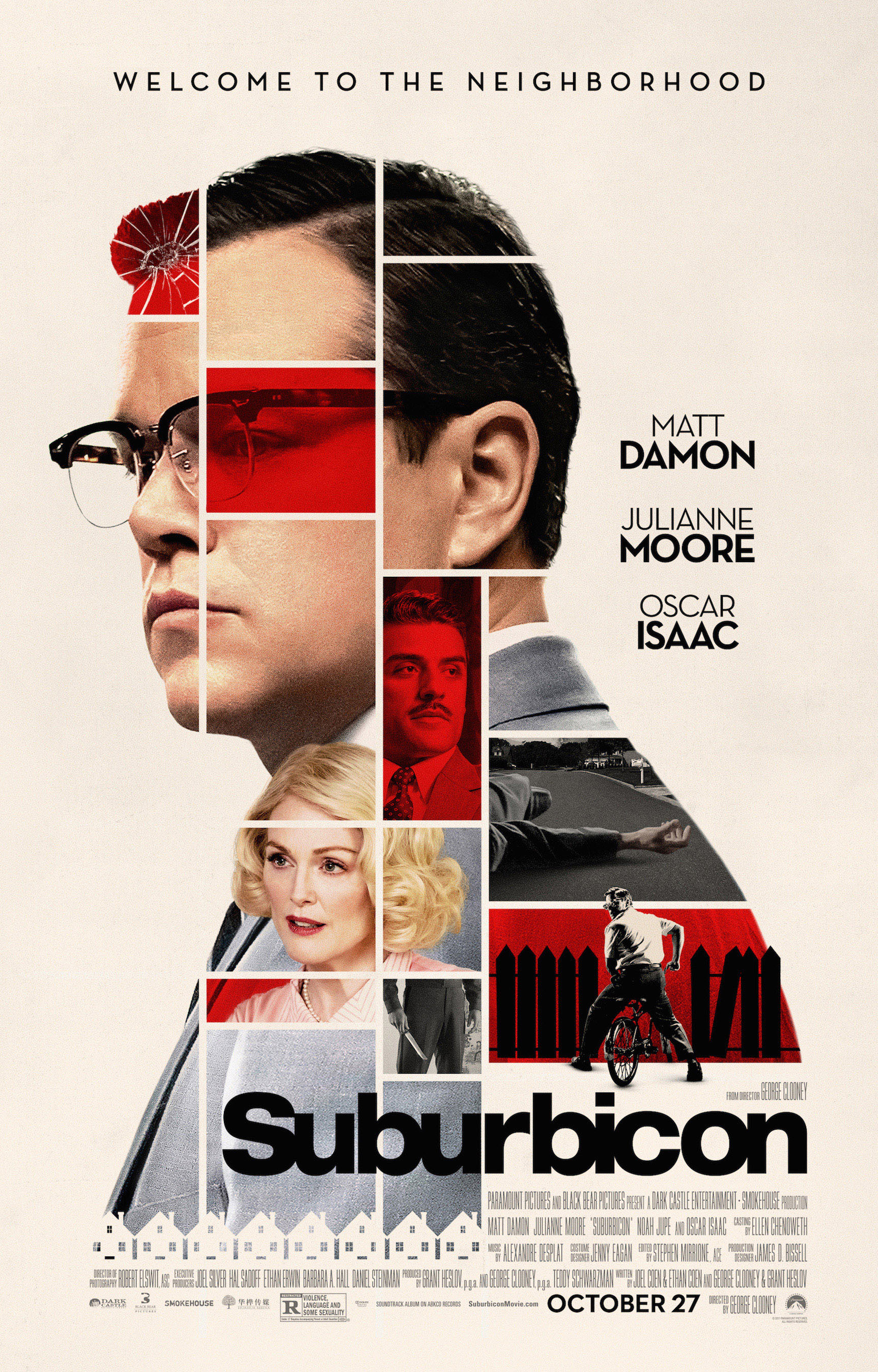"Matt Damon, Julianne Moore and Oscar Isaac appear on the movie poster for 2017's ""Suburbicon."""