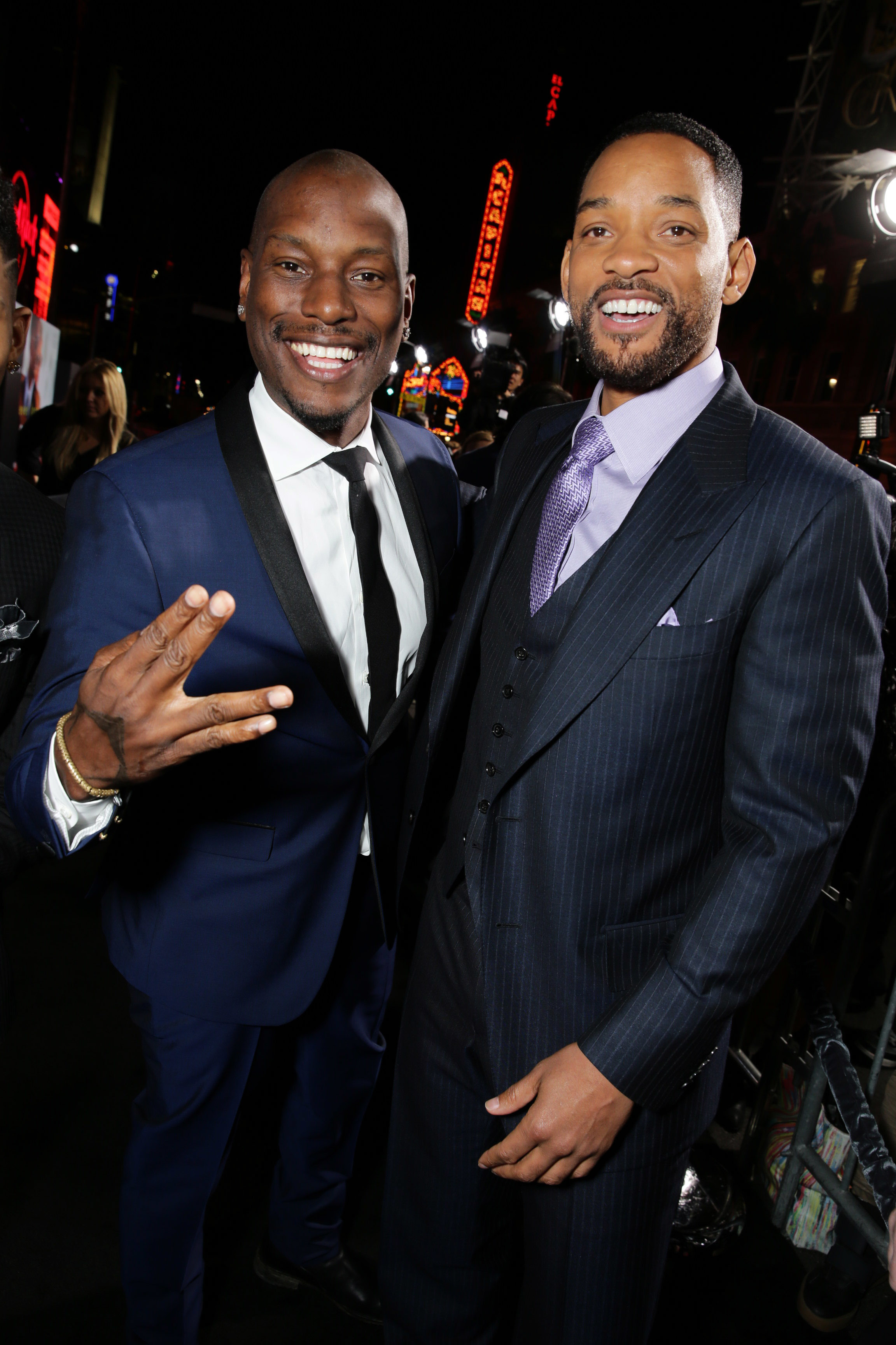 """Tyrese Gibson and Will Smith attend the premiere of """"Focus"""" in Los Angeles on Feb. 24, 2015."""