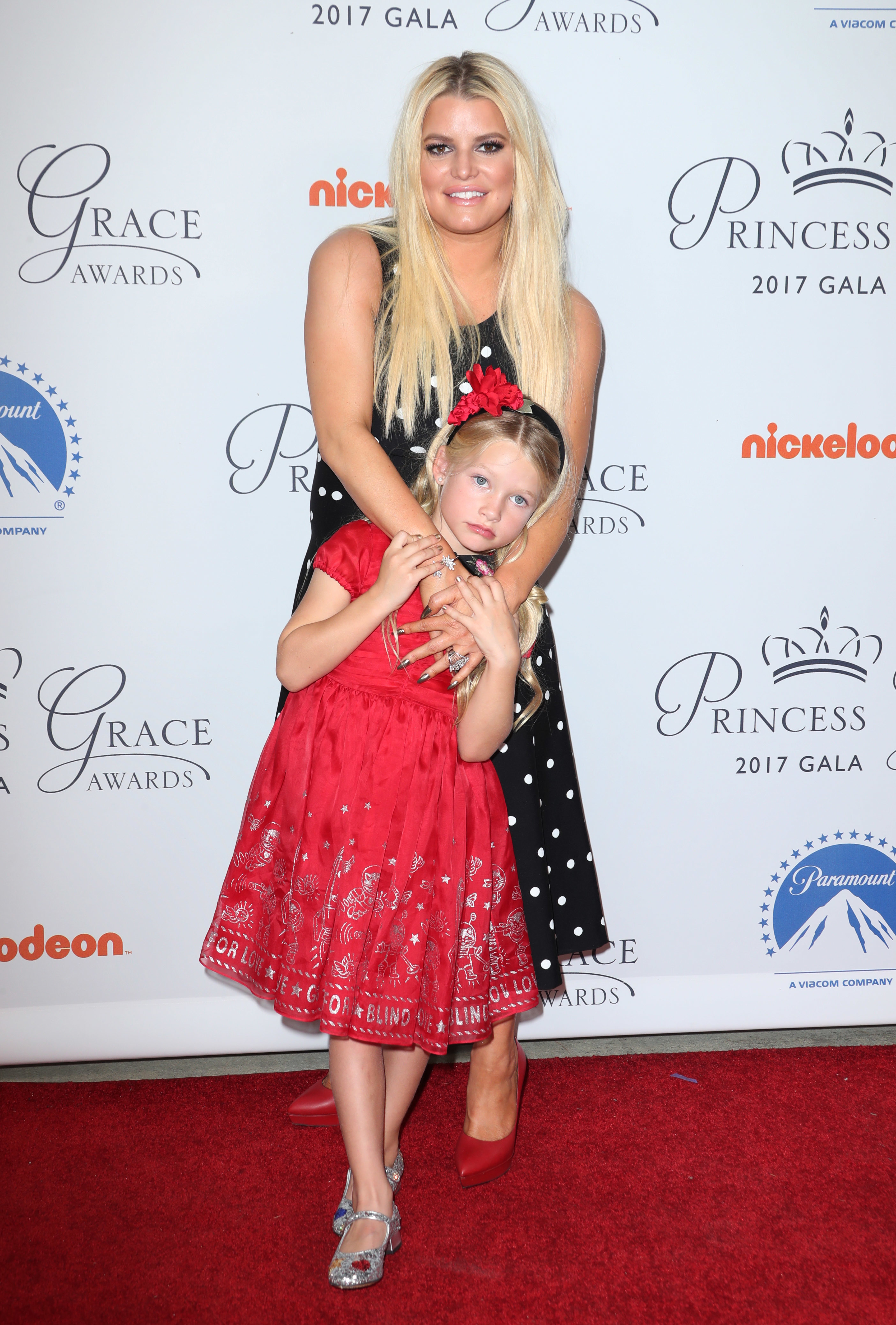 Jessica Simpson and daughter Maxwell Johnson were seen attending the Princess Grace Awards in Los Angeles on Oct. 24, 2017.