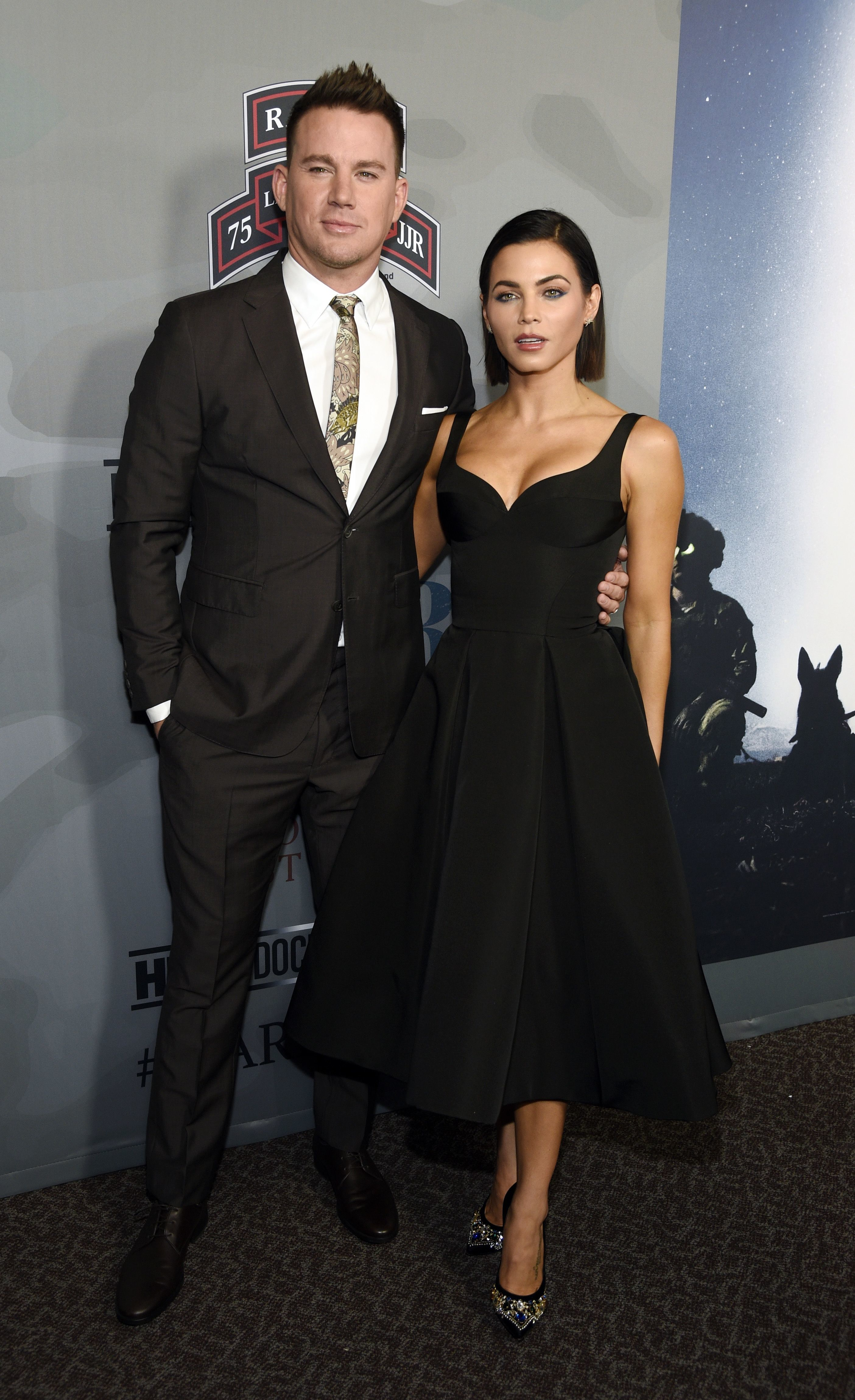 """Channing Tatum and Jenna Dewan Tatum attend the premiere of the film at the Directors Guild of America for """"War Dog: A Soldier's Best Friend"""" in Los Angeles on Nov. 6, 2017."""