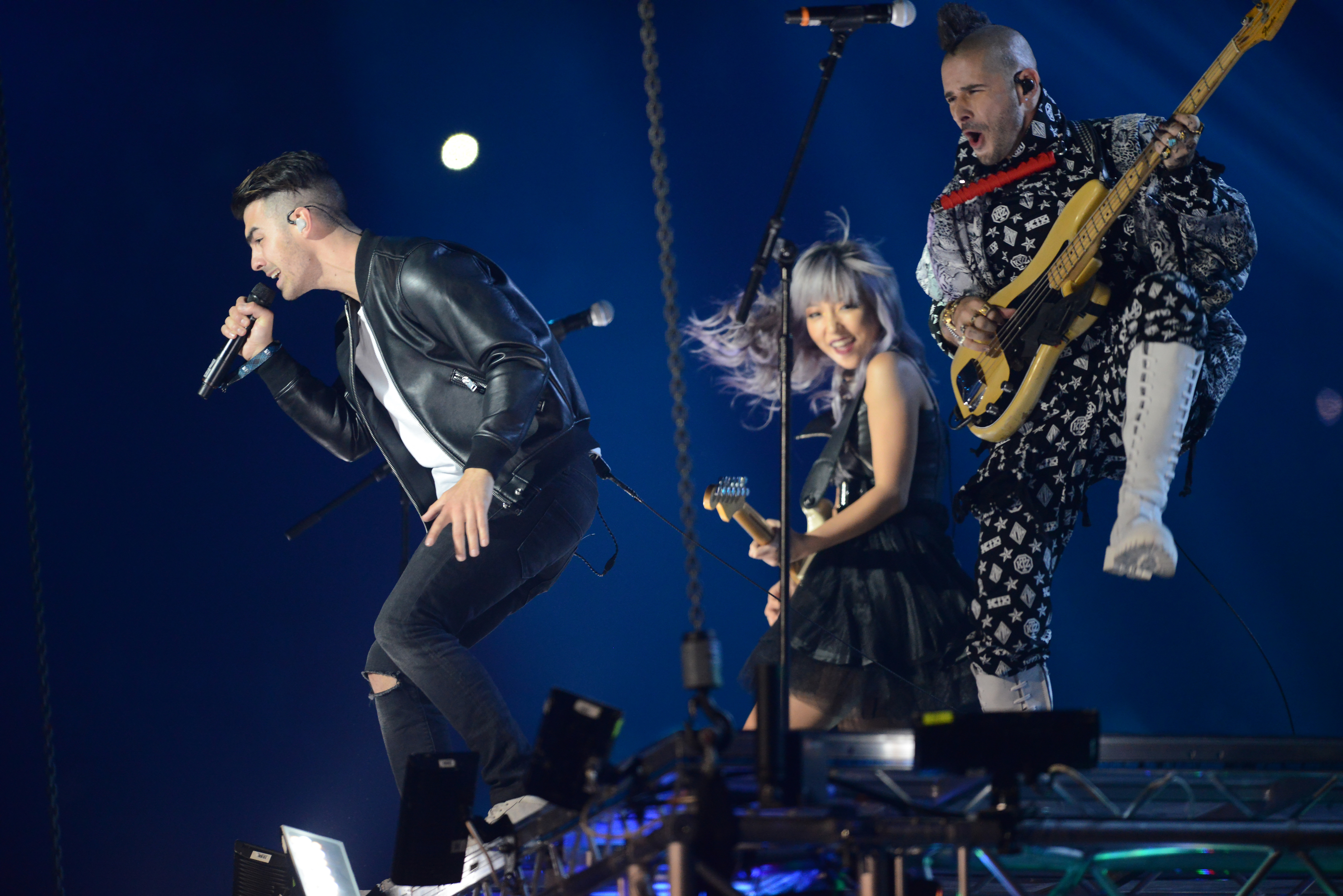 Joe Jonas, JinJoo Lee and Cole Whittle of DNCE performs on stage during the MTV Europe Music Awards 2016 in Rotterdam, Netherlands on November 6, 2016.