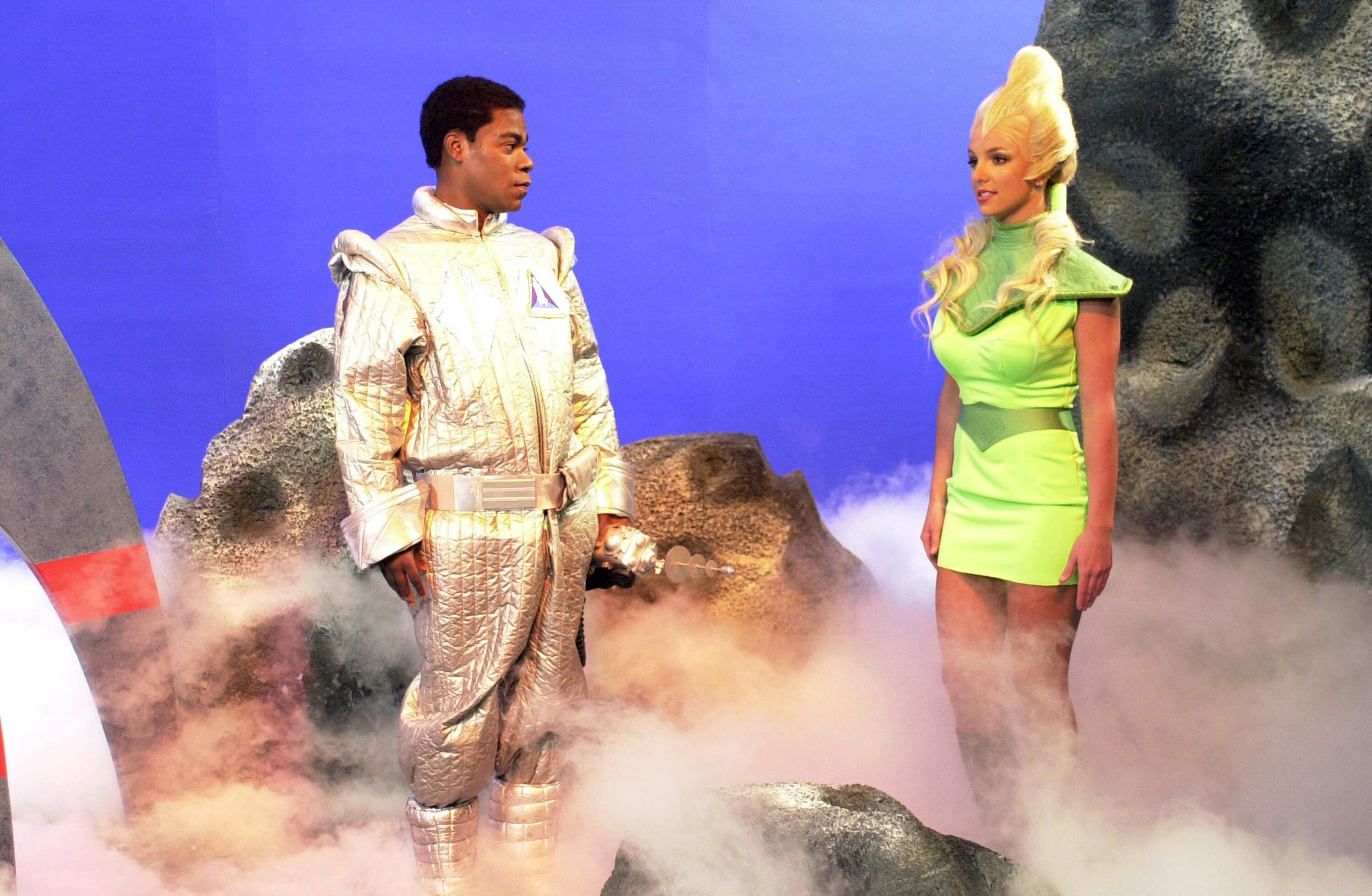 "Tracy Morgan stars as Astronaut Jones and meets the sexy alien Krulgara played by Britney Spears on ""SNL"" on Feb. 2, 2002."