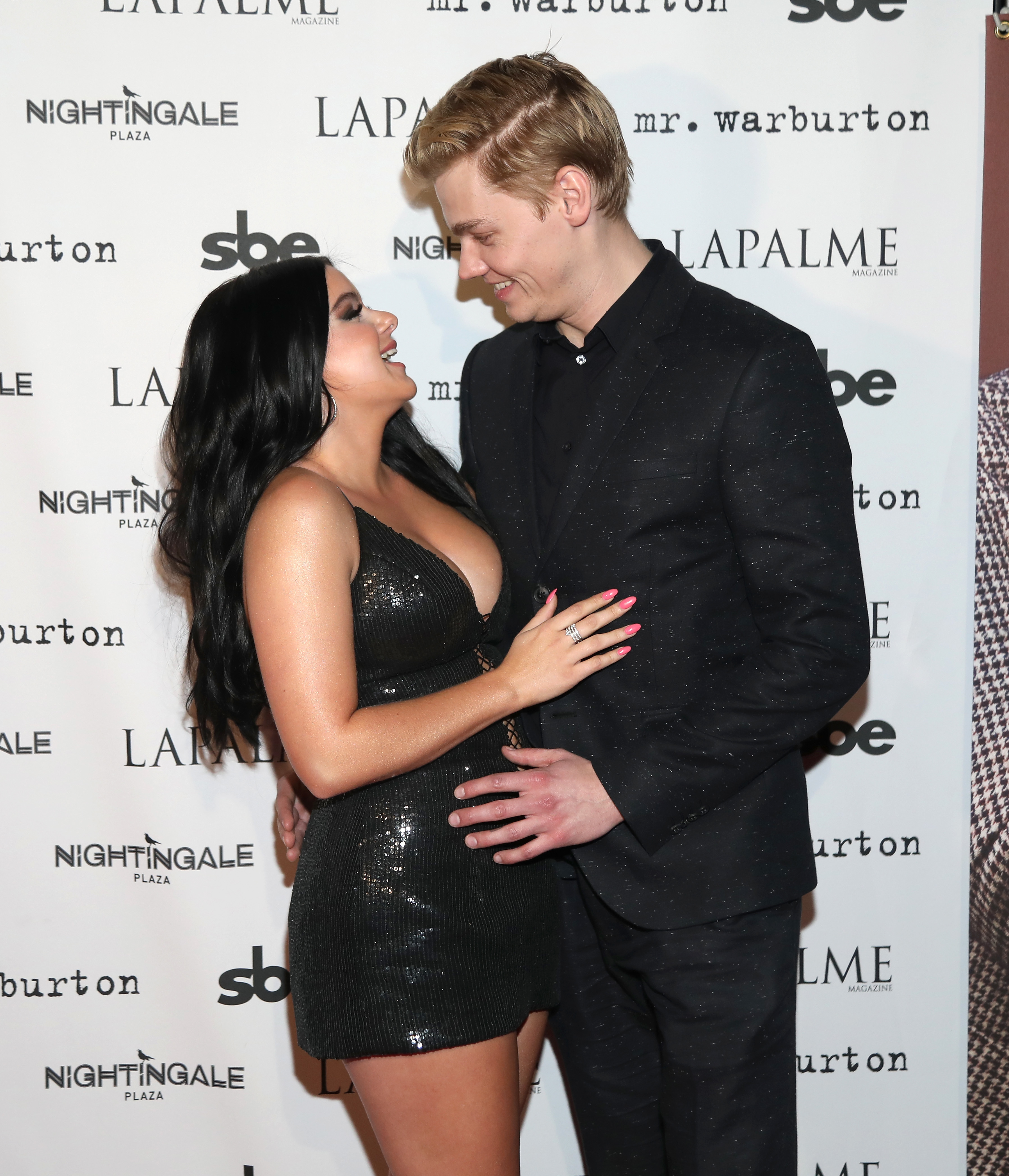 Ariel Winter and Levi Meaden attend LaPalme Magazine fall cover party at Nightingale Plaza in Los Angeles on Nov. 8, 2017.