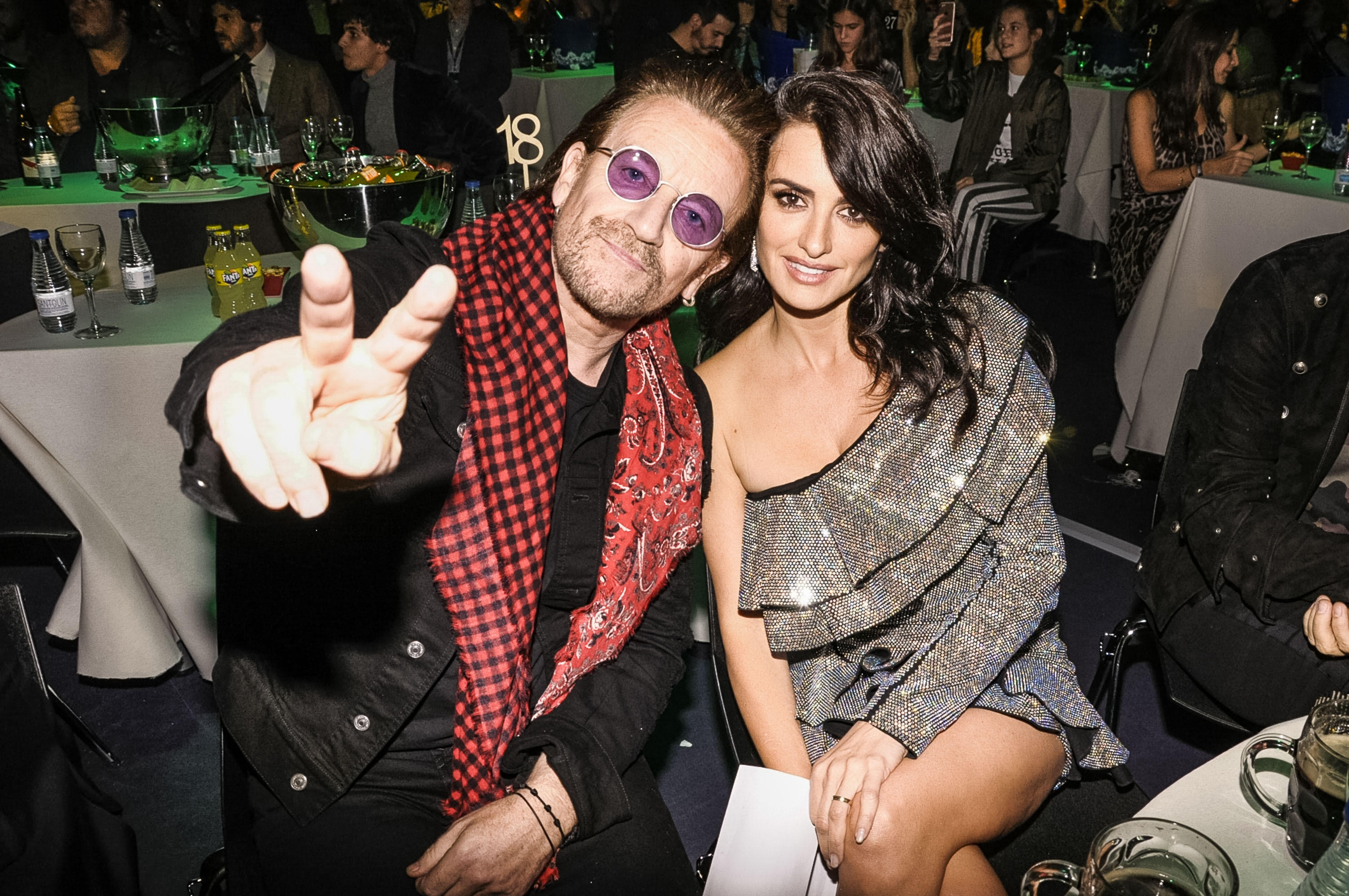 Bono and Penelope Cruz attend the Principales Music awards in Madrid, Spain,  on Nov. 11, 2017.